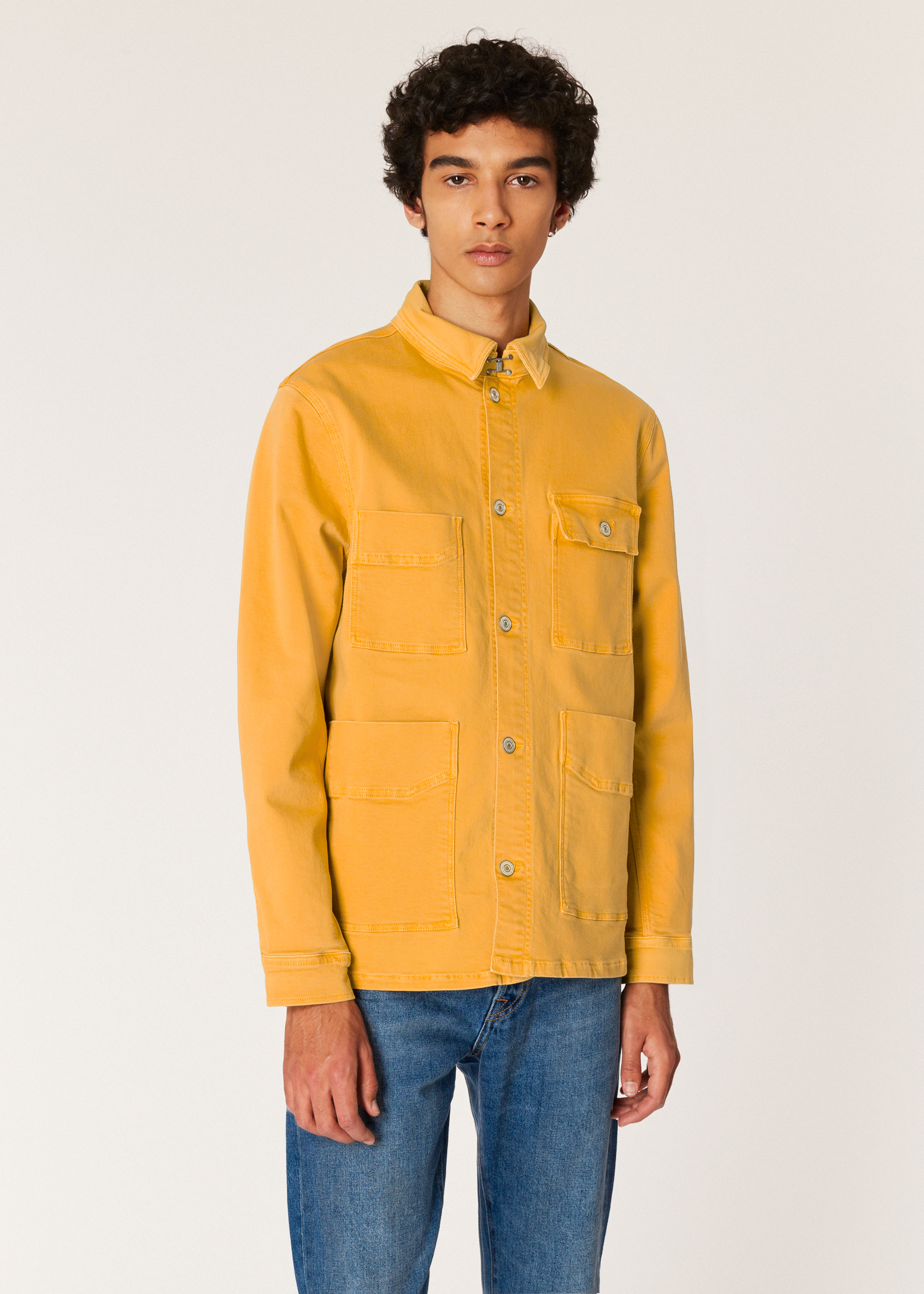 d64a1247f Model front close up - Men's Yellow Stretch-Cotton Denim Chore Jacket Paul  Smith