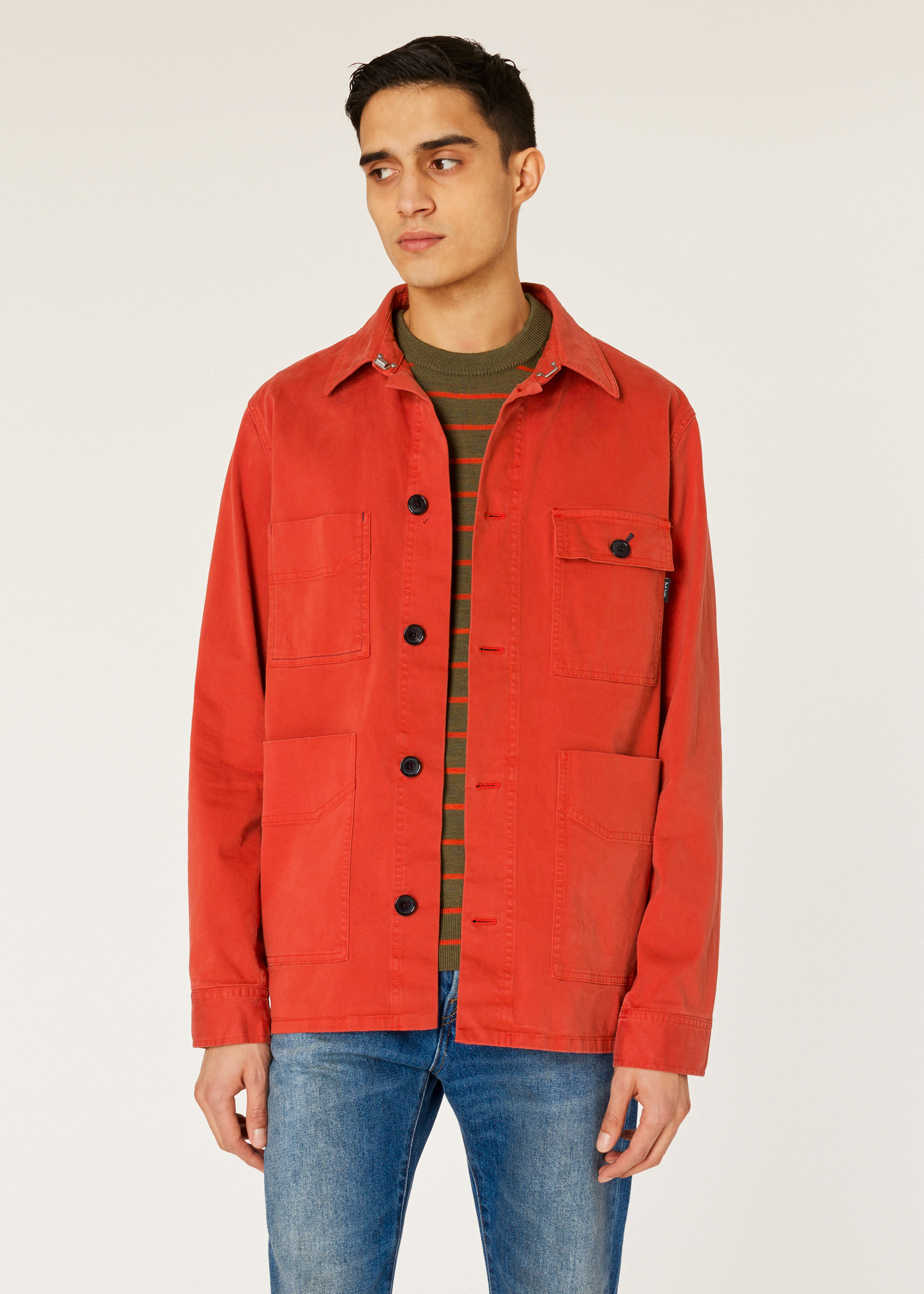 eaaa55dca Model front close up- Men's Orange Stretch Cotton-Twill Chore Jacket Paul  Smith