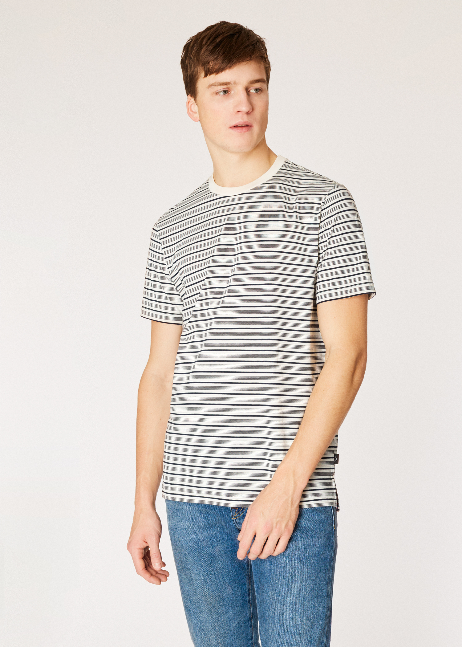 7103594012 Model front close up - Men's White And Navy Stripe Organic-Cotton T-Shirt
