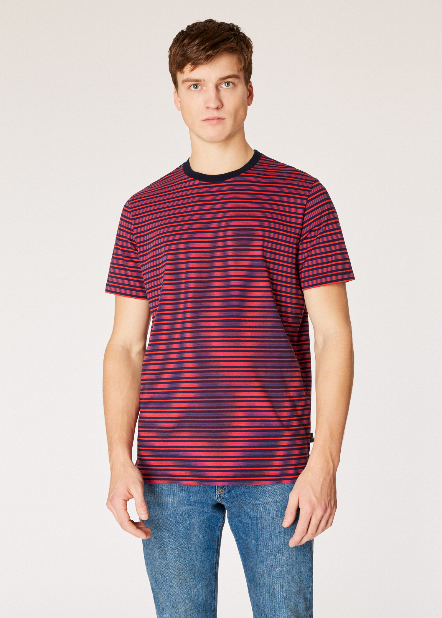 44397bacb4 Model front close up - Men's Red And Navy Stripe Organic-Cotton T-Shirt