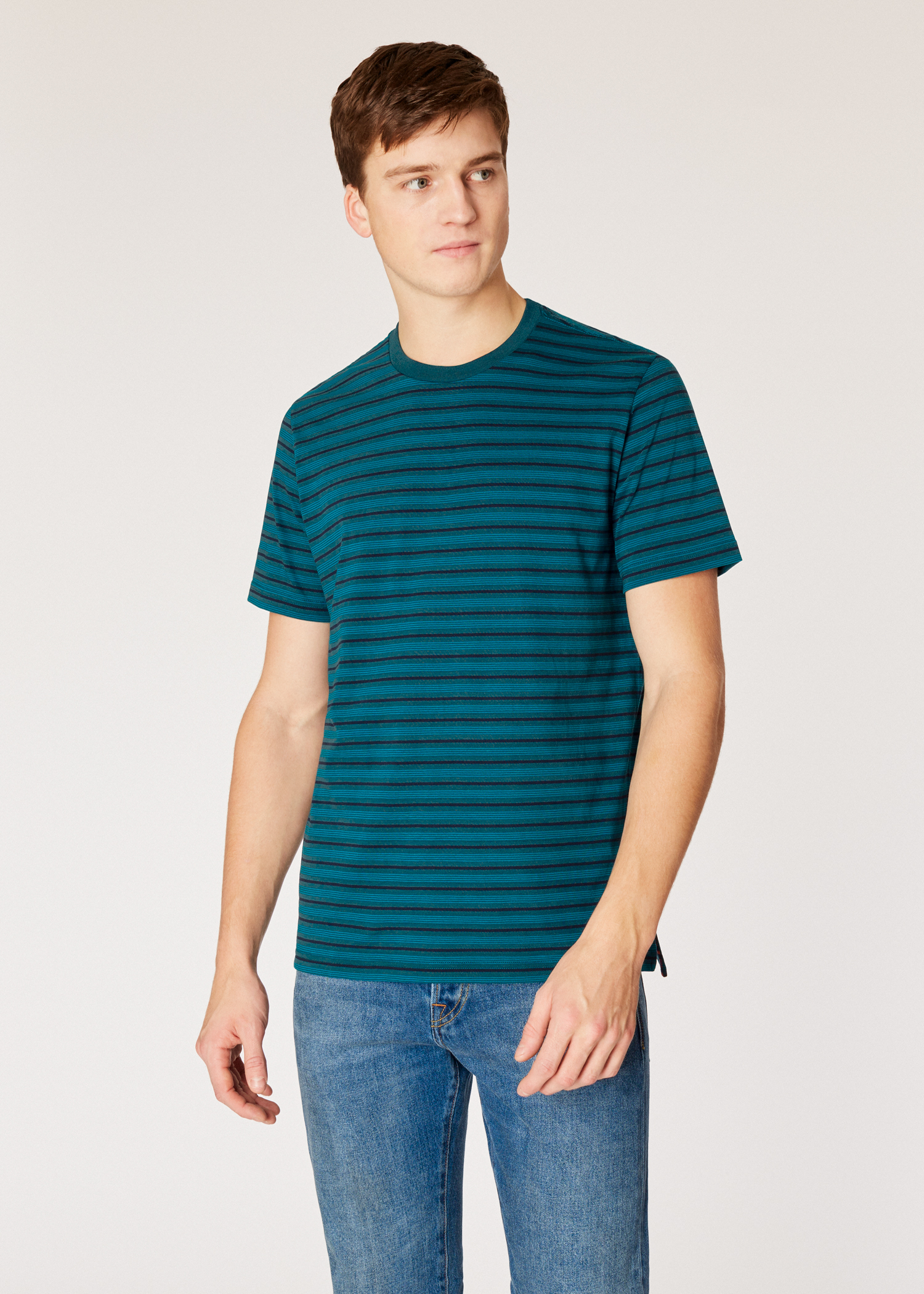 6a88b0e979 Model front close up - Men's Teal And Navy Stripe Organic-Cotton T-Shirt