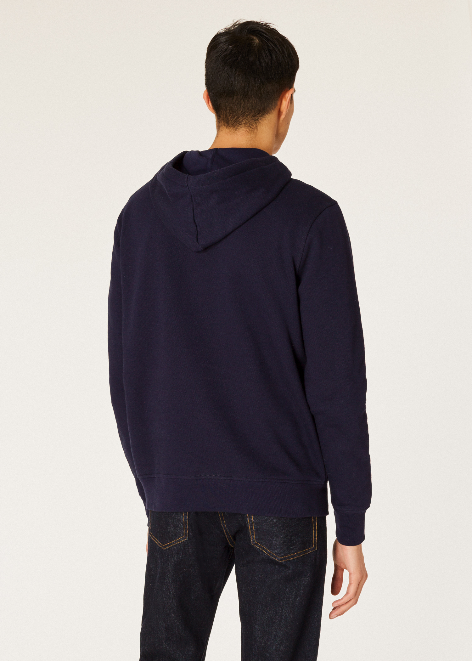 a62b81422ed420 Model back close up - Men's Navy Half-Zip Cotton Hoodie Paul Smith