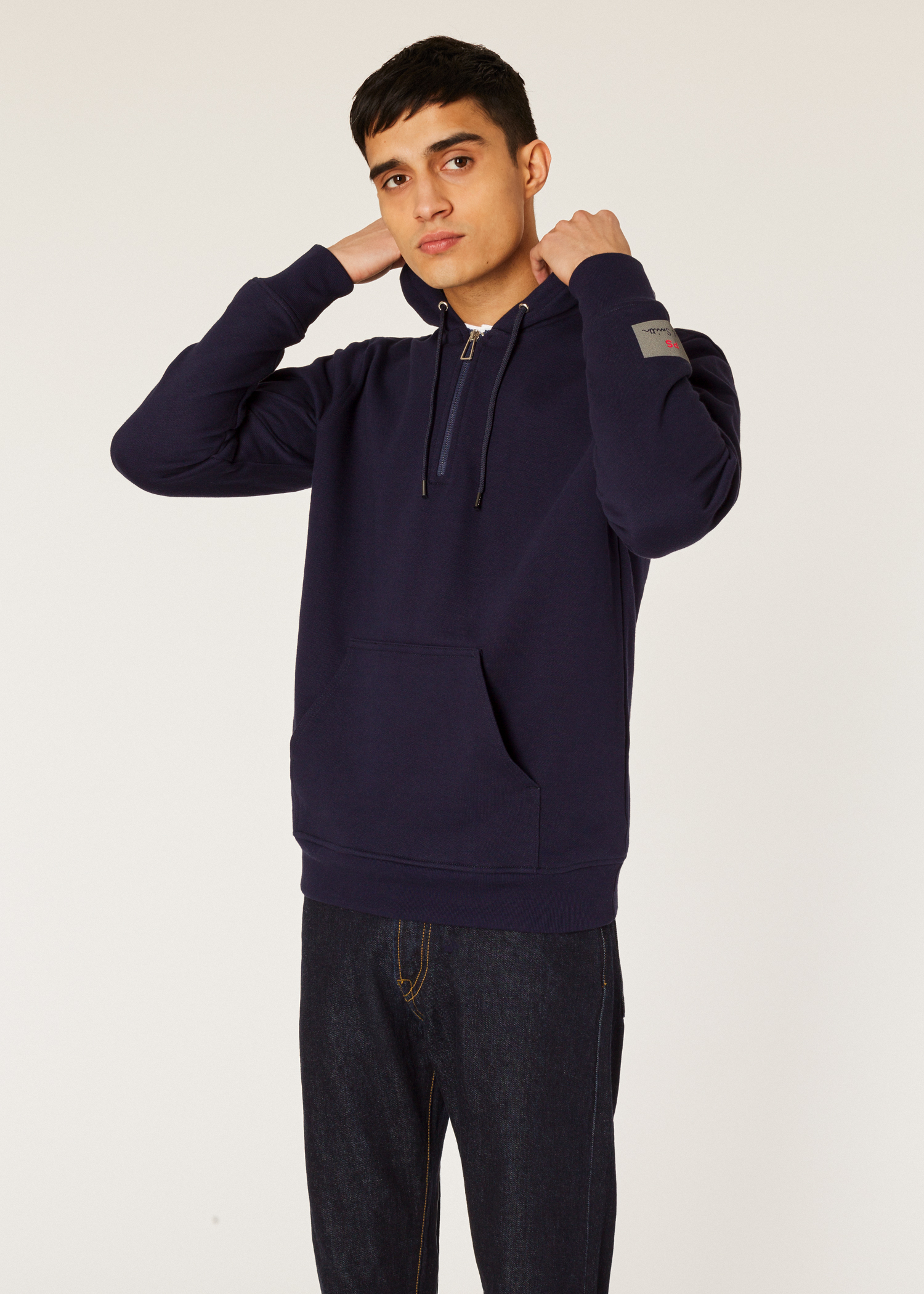 ffa7ef70fb700f Model front close up - Men's Navy Half-Zip Cotton Hoodie Paul Smith