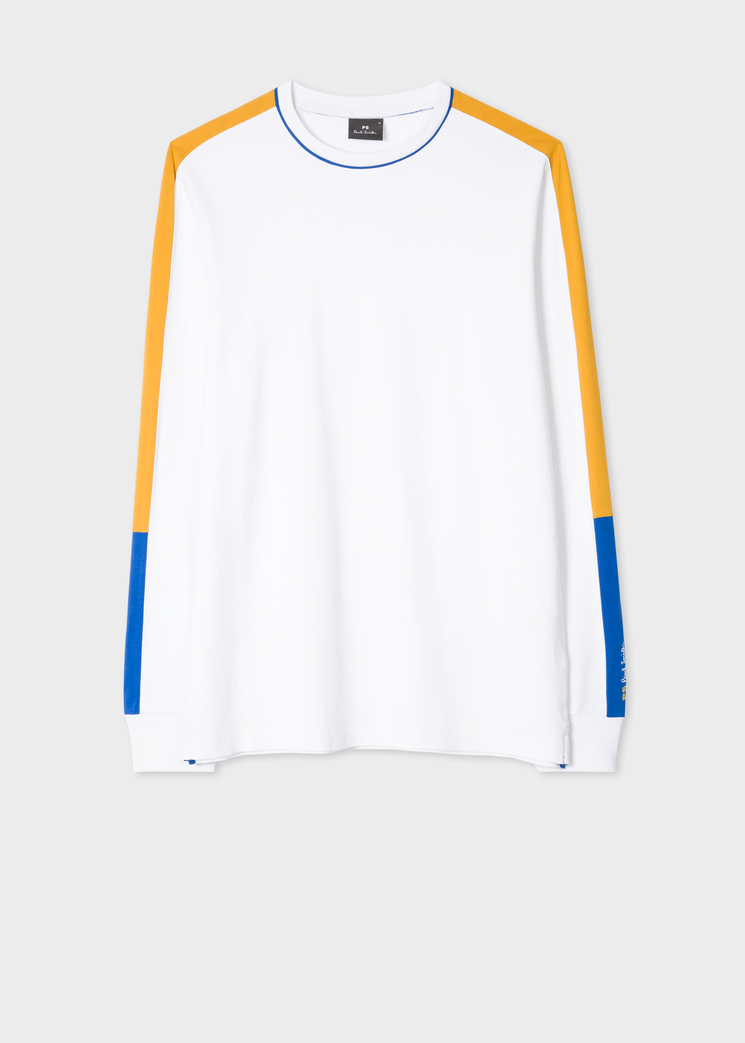 51f004284852 Front view - Men's White Long-Sleeve T-Shirt With Mustard And Blue Sleeve