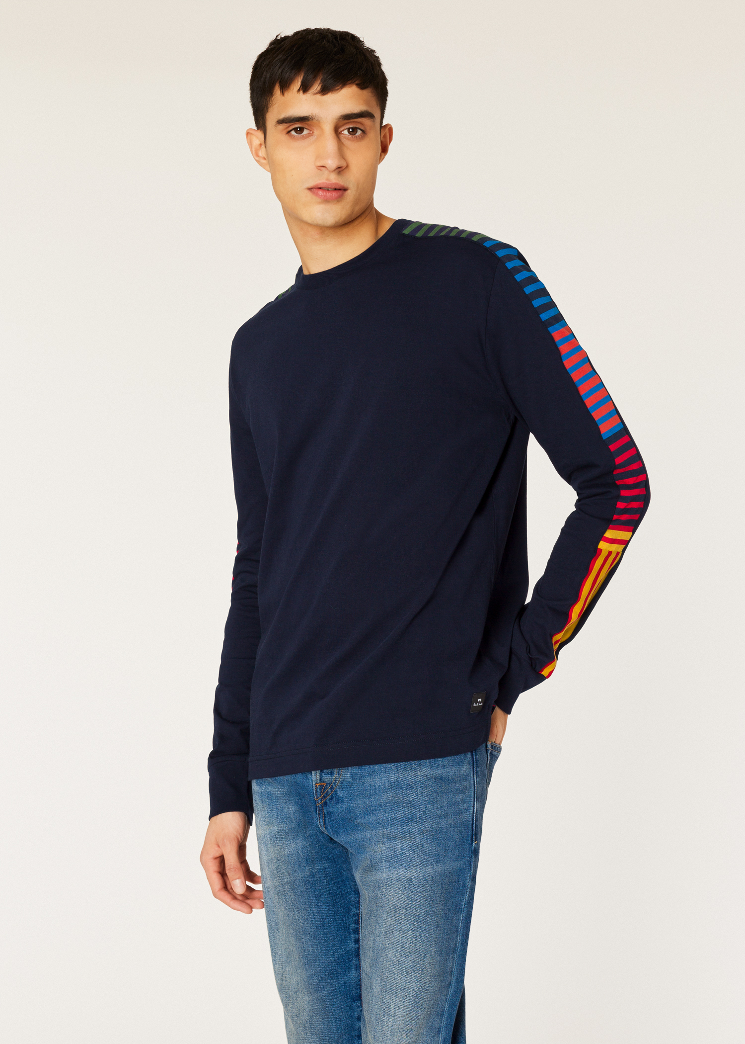 06cd89b4a231 Model front close up - Men's Dark Navy Long-Sleeve T-Shirt With Stripe