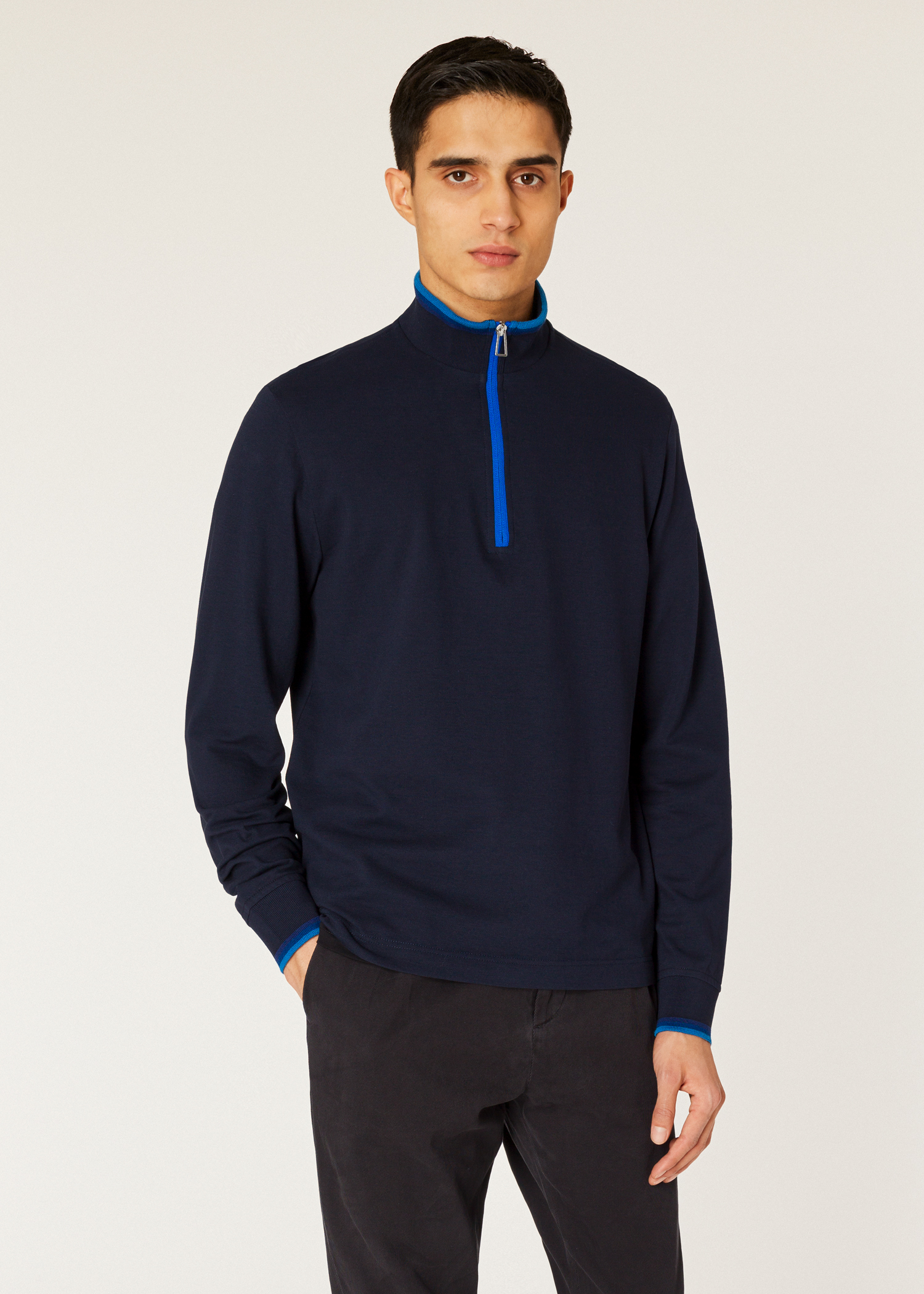 bf46119885d10a Model front close up - Men's Navy Half-Zip Cotton Top With Tonal Tipping  Paul