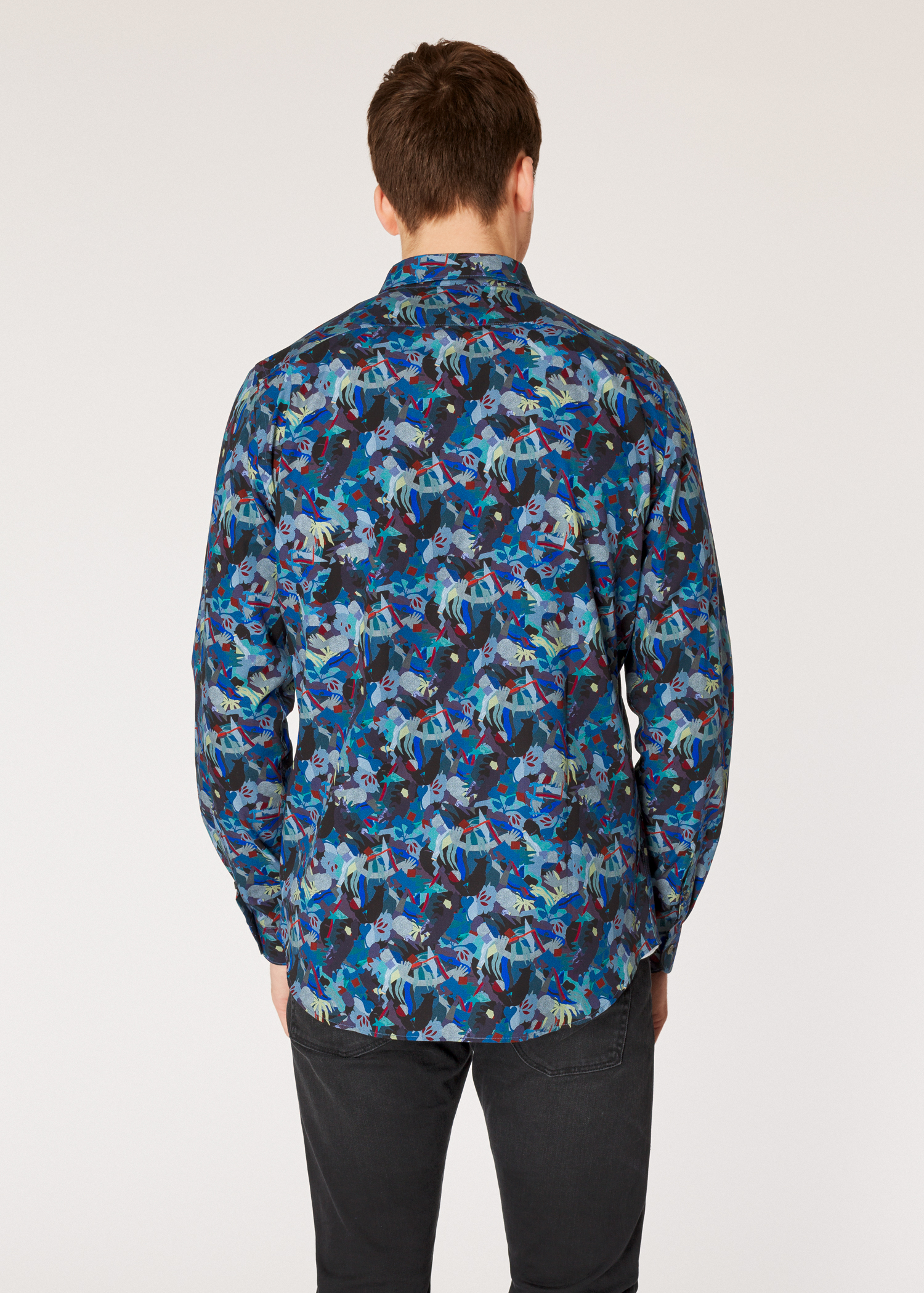 2033ffbcb3 Model back view - Men's Tailored-Fit Multi-Coloured 'Urban Fox Collage'