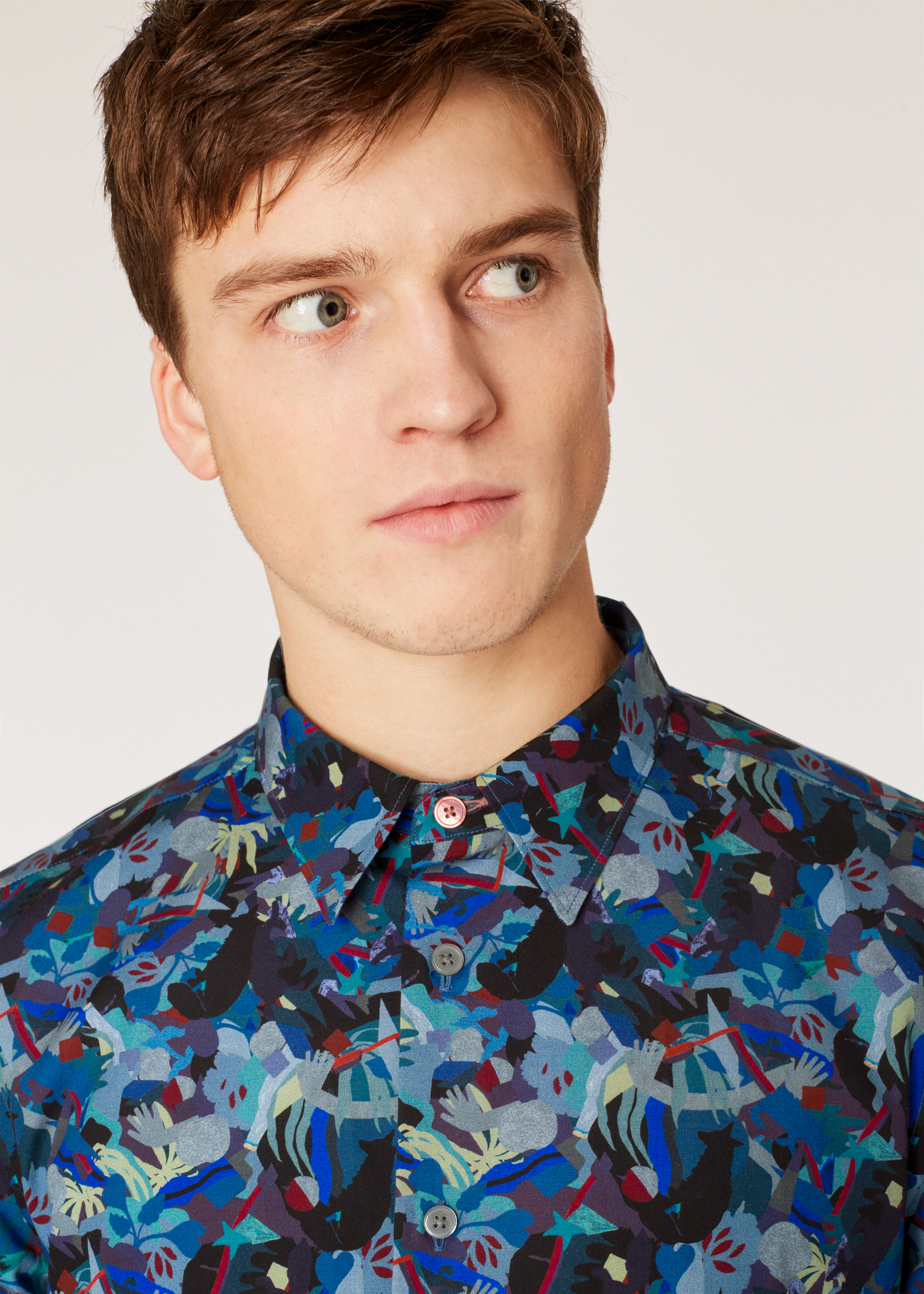 36ee5f5a46 Model front detail shot - Men's Tailored-Fit Multi-Coloured 'Urban Fox  Collage