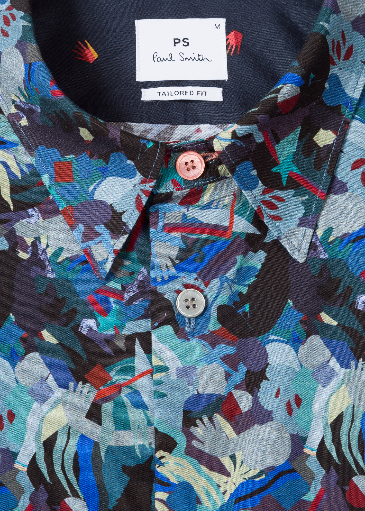 5f9a1b1a34 Collar view - Men's Tailored-Fit Multi-Coloured 'Urban Fox Collage' Cotton