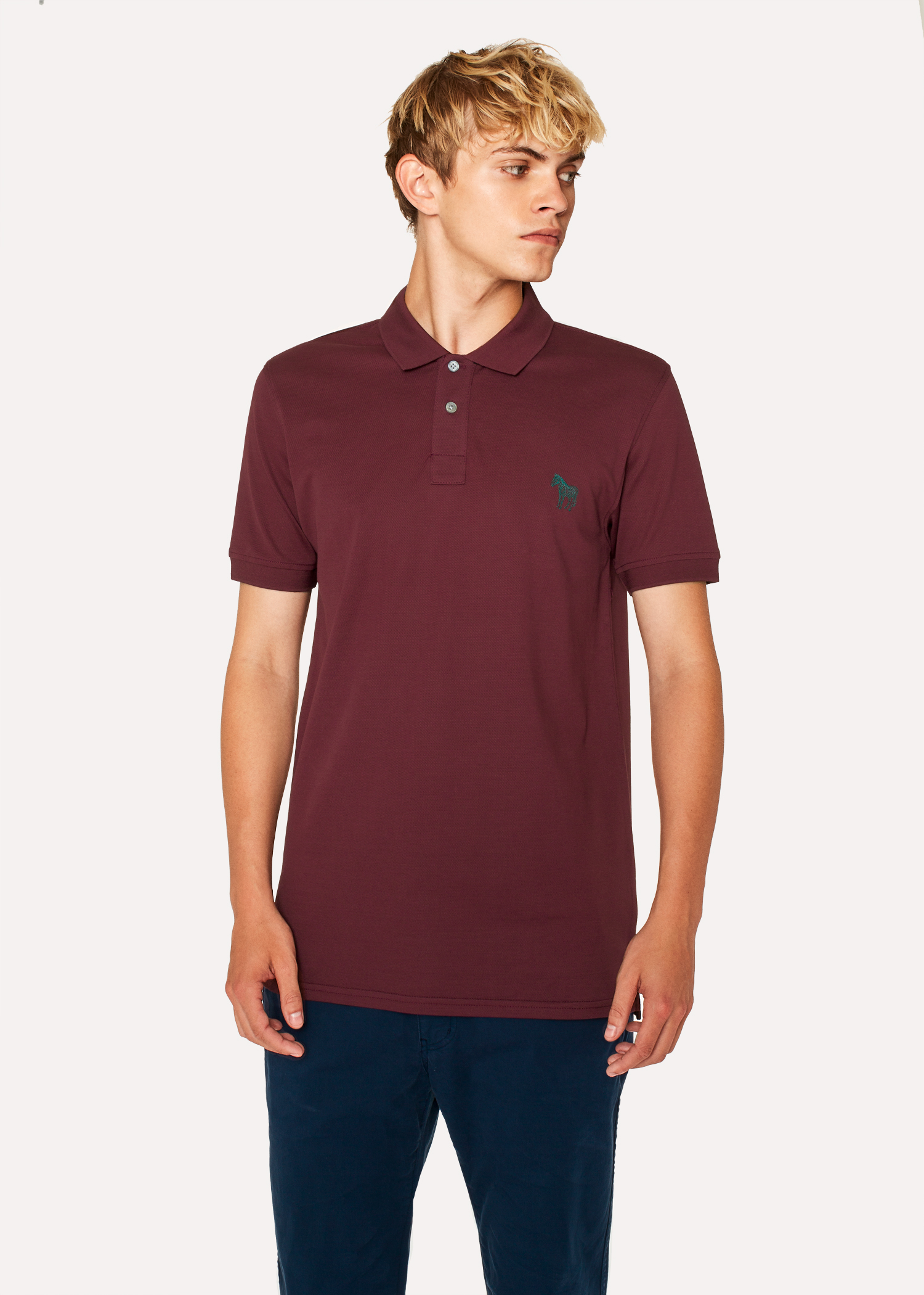 Mens Slim Fit Burgundy Embroidered Zebra Polo Shirt Paul Smith Us