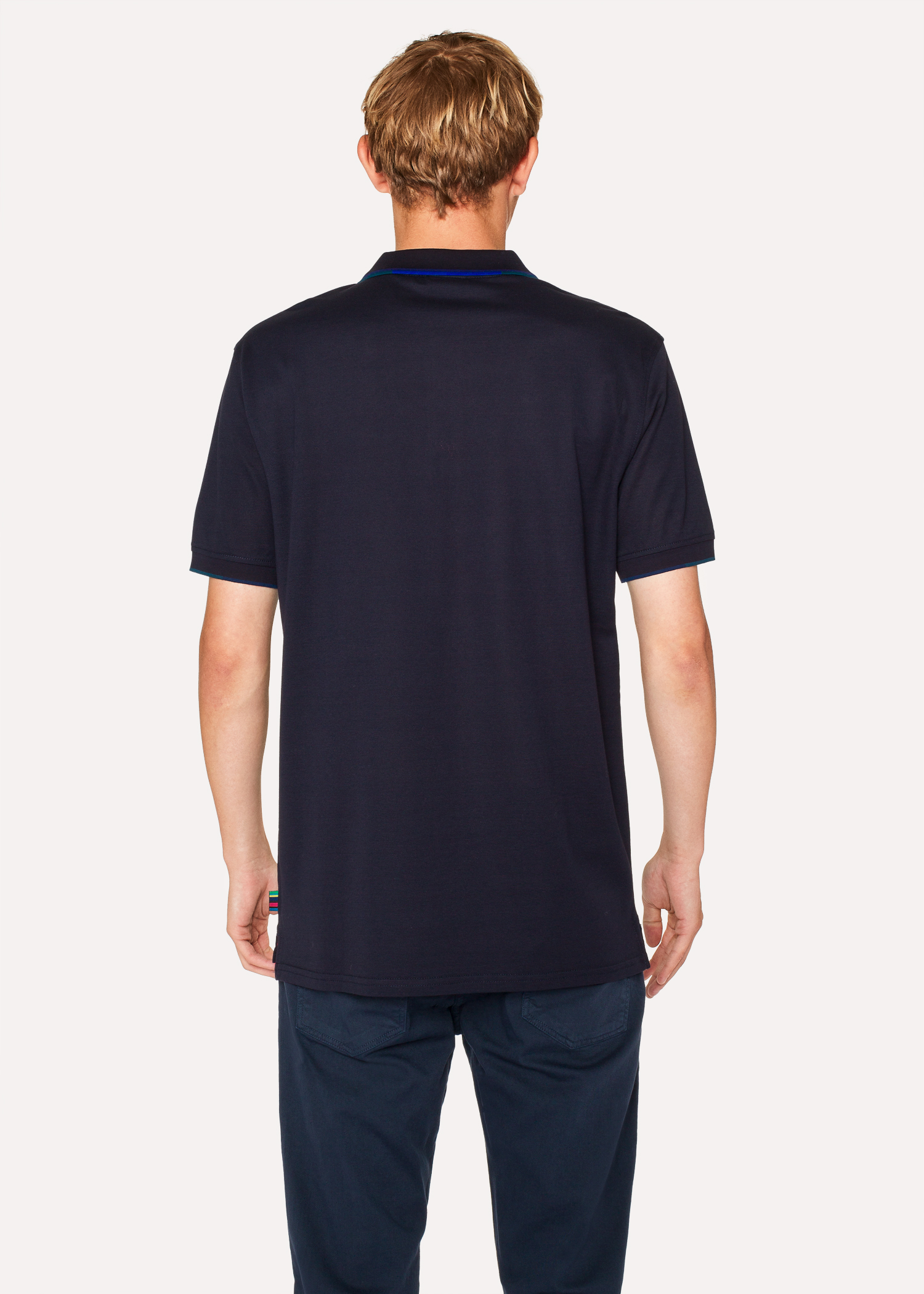Mens Dark Navy Polo Shirt With Coloured Tipping Paul Smith Us
