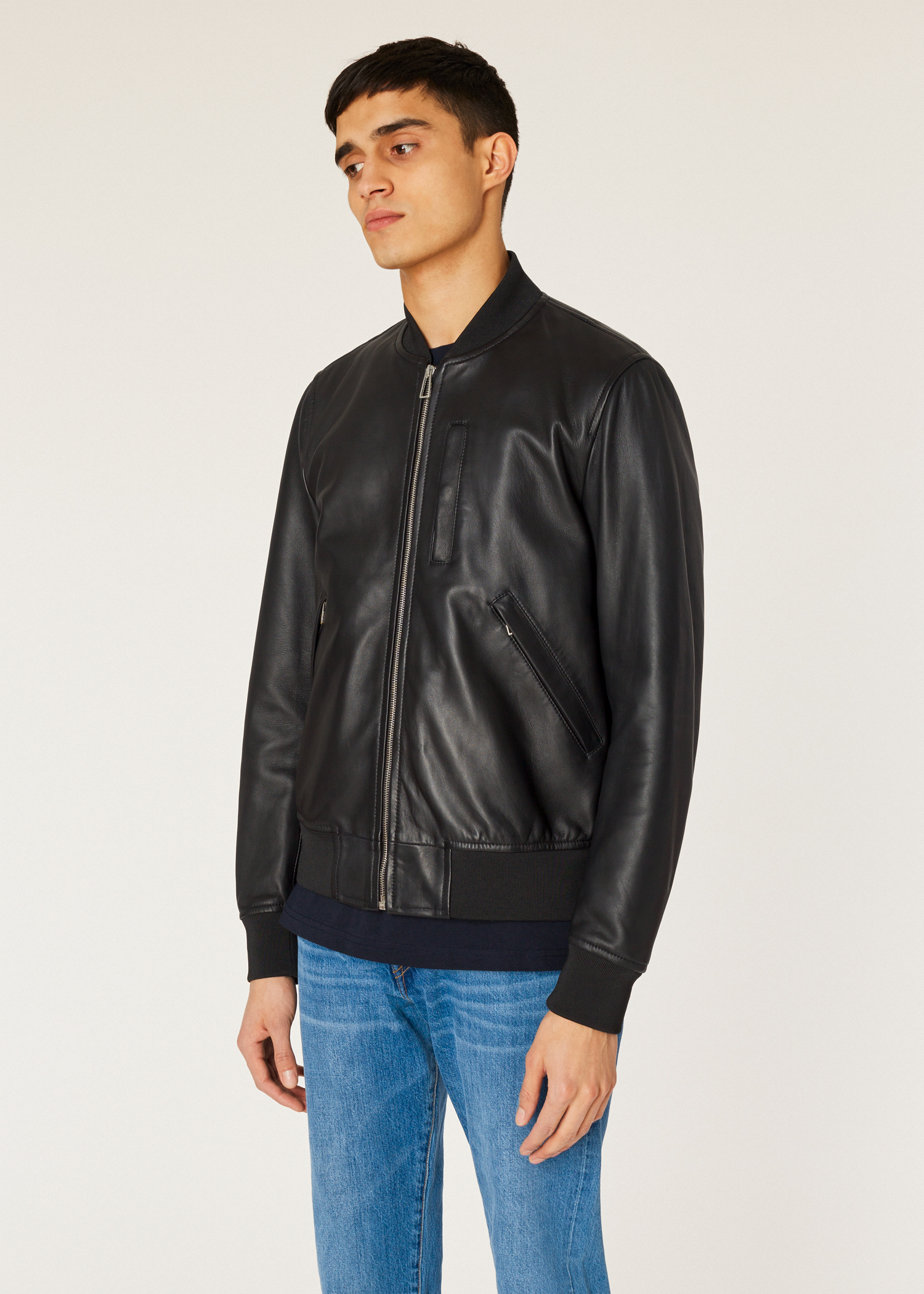 caf6cffba125 Model front close up- Men's Black Leather Bomber Jacket With Front Pockets  Paul Smith