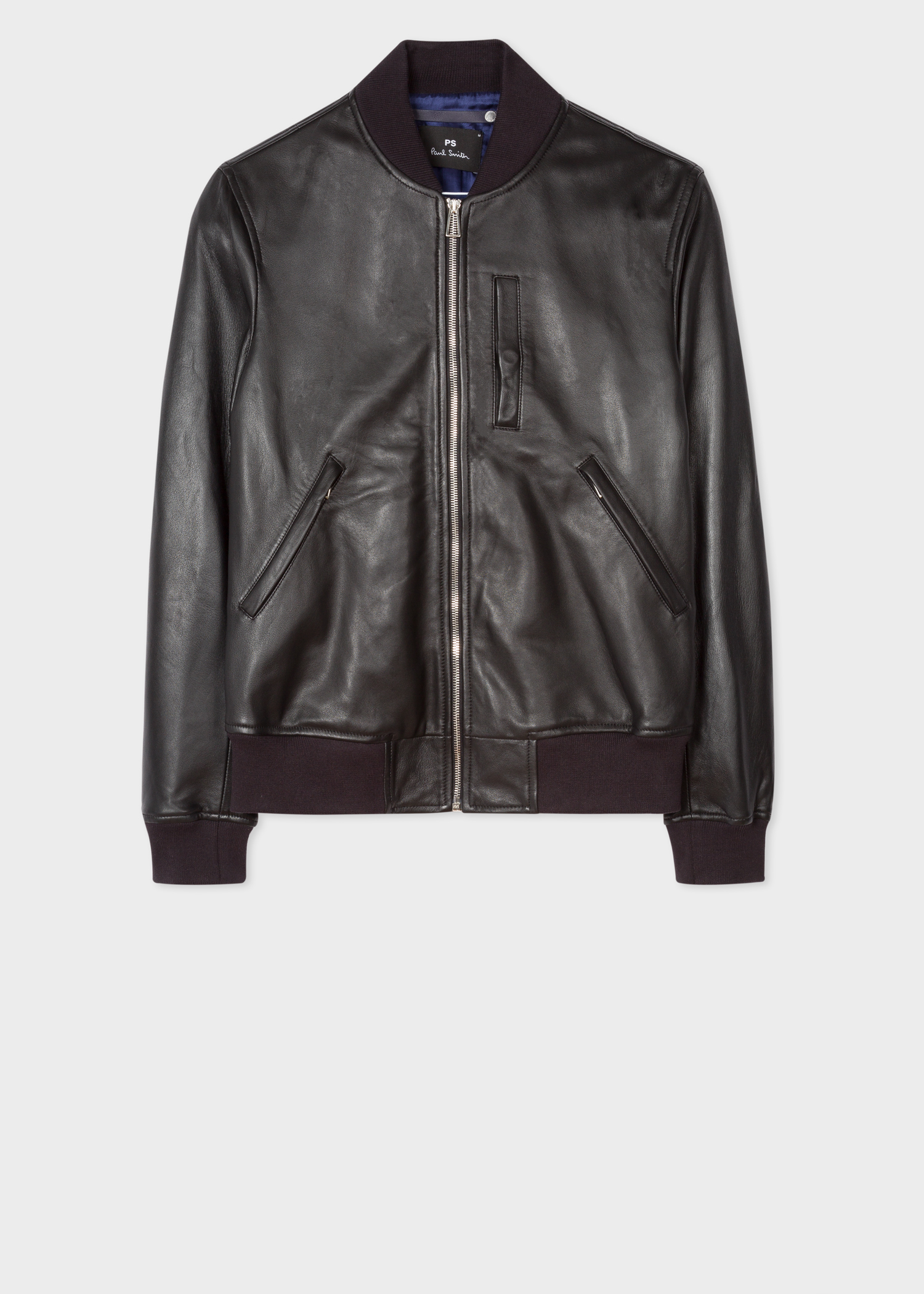 Men S Black Leather Bomber Jacket With Chest Pocket Paul