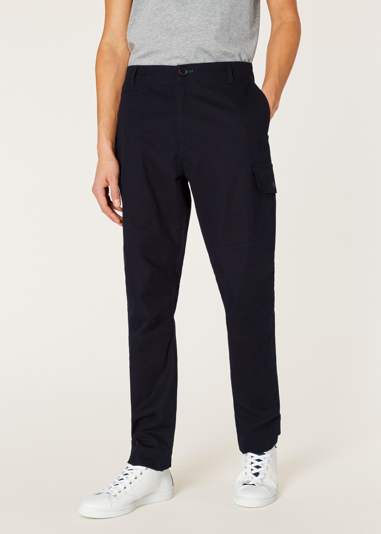 e6c19d7a3 Men s Dark Navy Garment-Dyed Stretch-Cotton Cargo Trousers - Paul ...