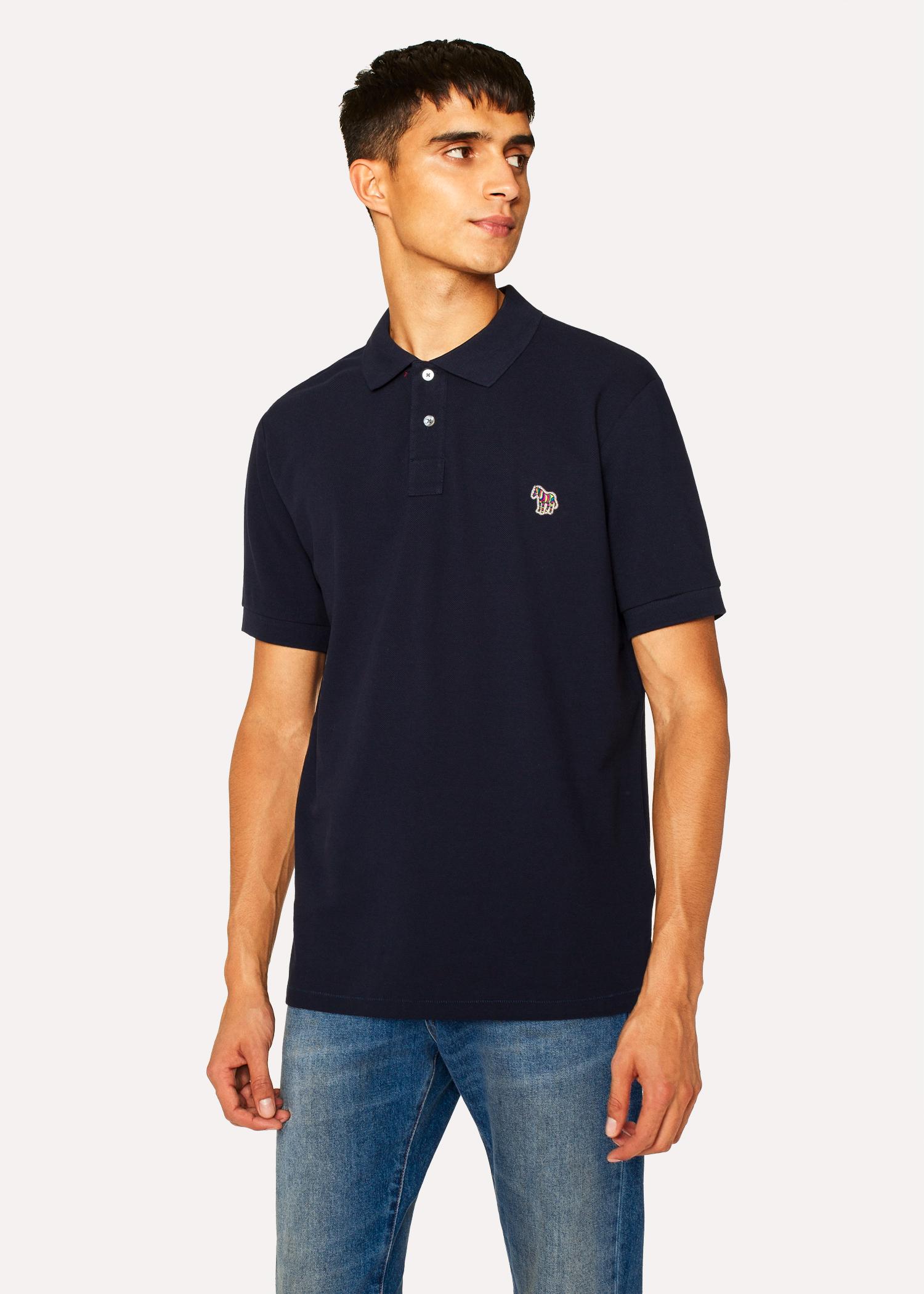 05a8b3dd45de97 Men's Dark Navy Organic Cotton-Piqué Zebra Logo Polo Shirt by Paul Smith