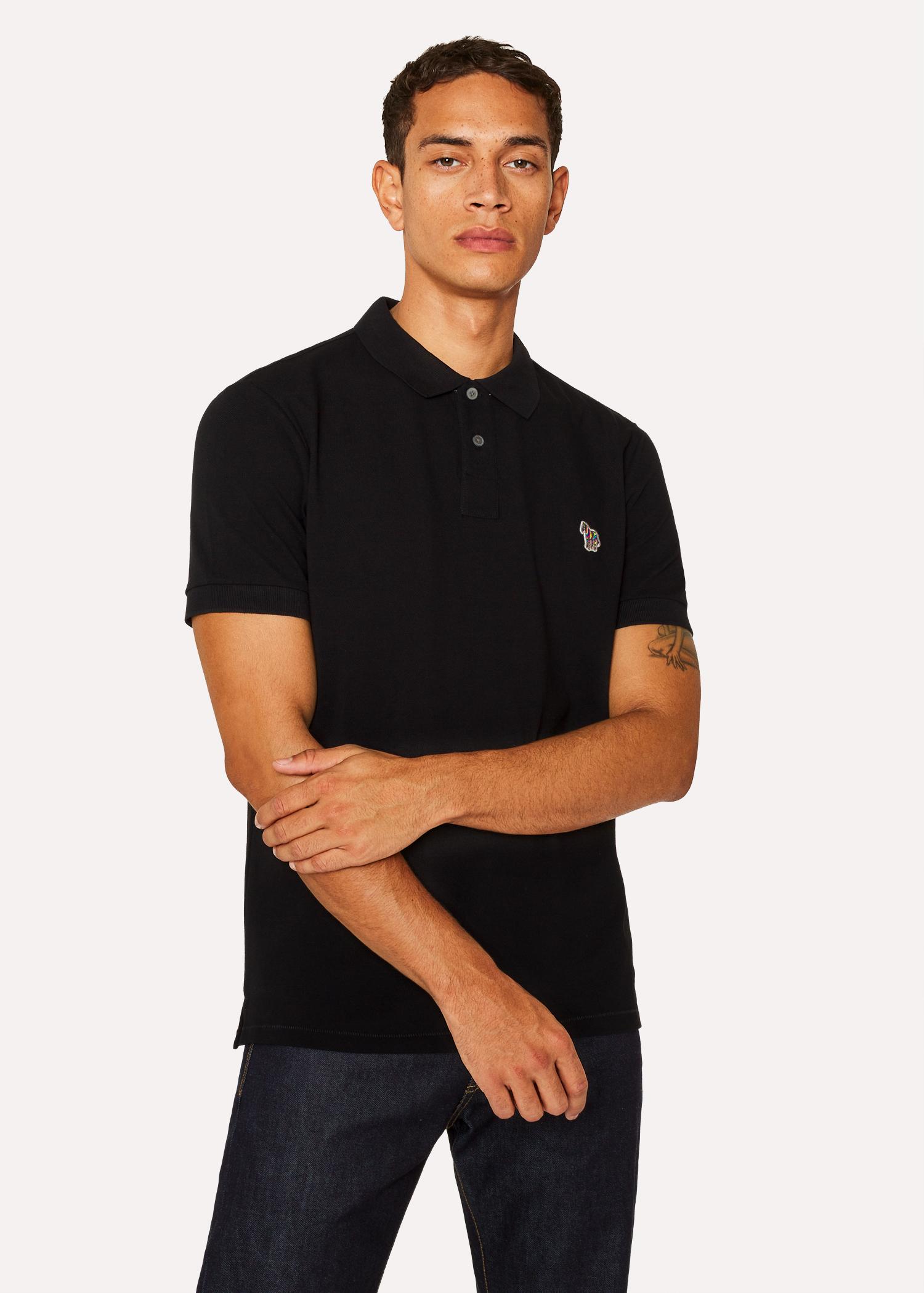 c8ee351976fa9 Men's Black Cotton-Piqué Zebra Logo Polo Shirt