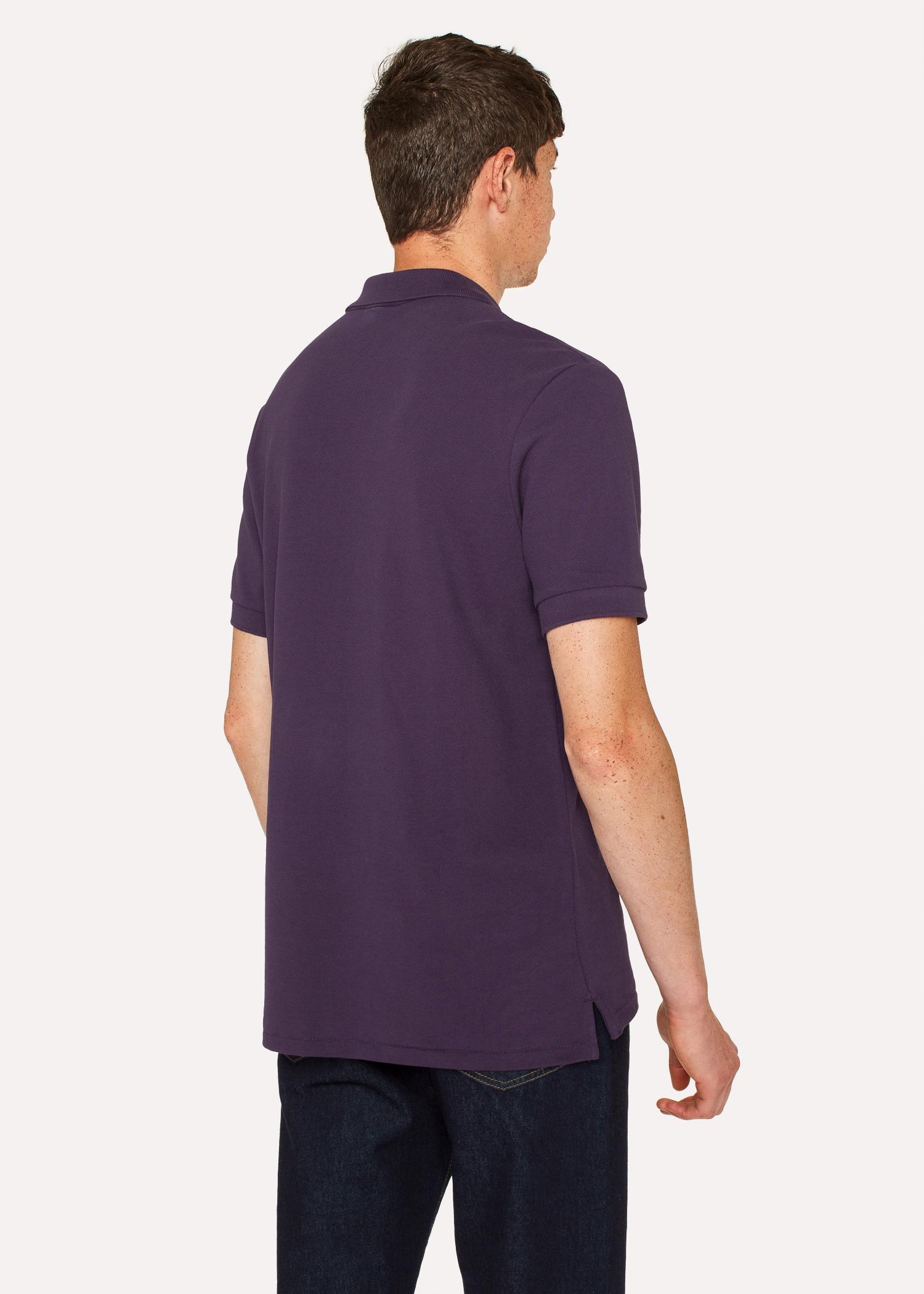 Mens Dark Violet Organic Cotton Piqu Zebra Logo Polo Shirt Paul