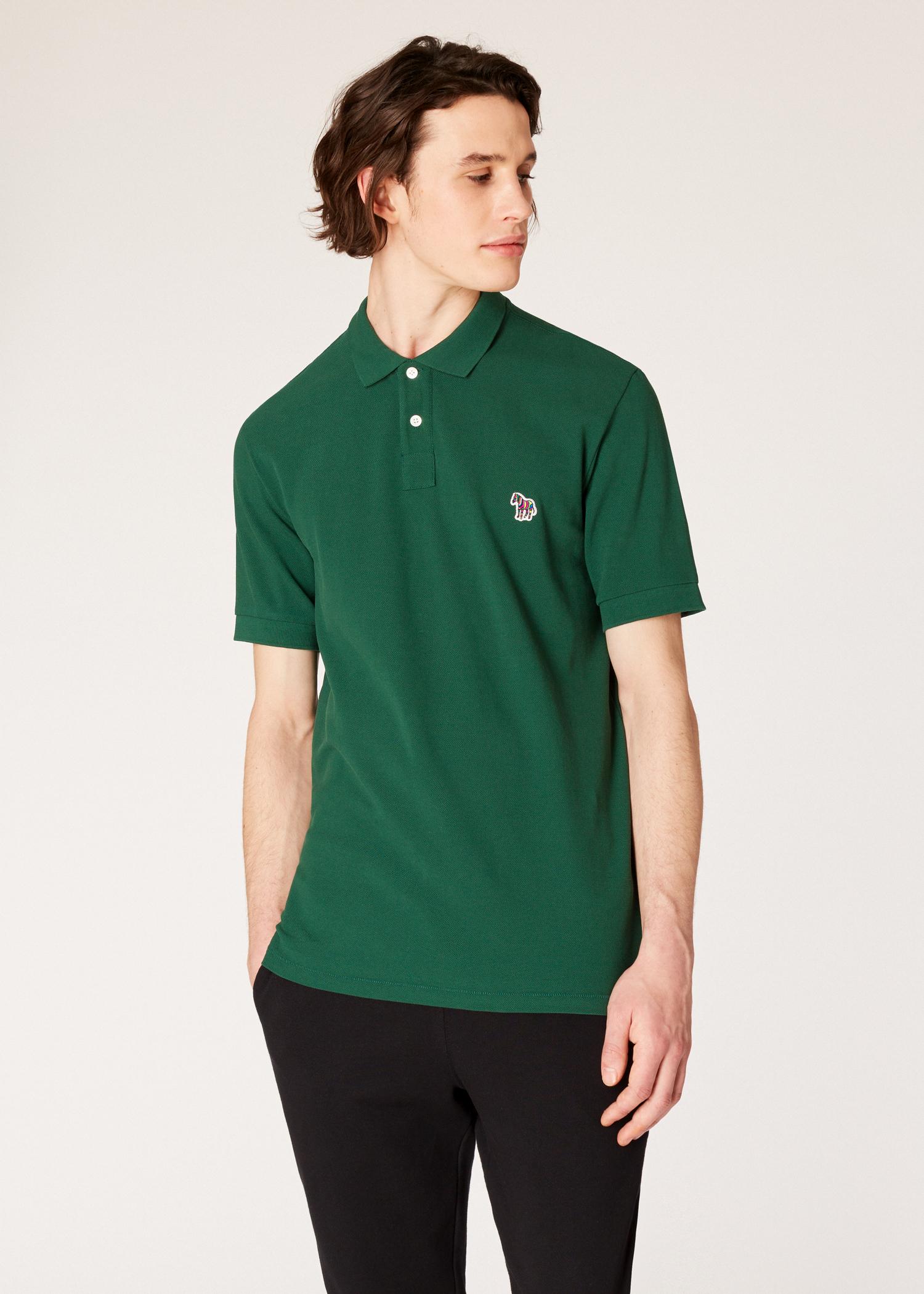8bf3febf Model front close up- Men's Green Organic Cotton-Piqué Zebra Logo Polo  Shirt Paul