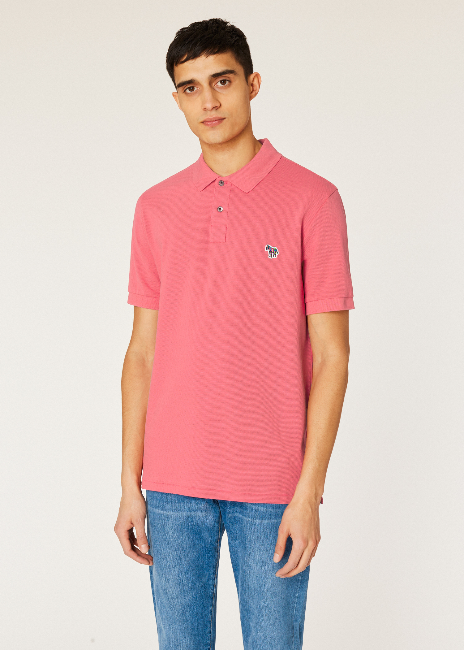 189c8ac684b Model front close up mens pink organic cotton piqué zebra logo polo shirt  paul jpg 1500x2100