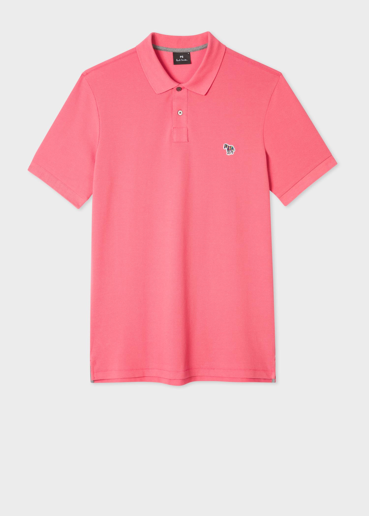 5a964346 Front View - Men's Pink Organic Cotton-Piqué Zebra Logo Polo Shirt Paul  Smith