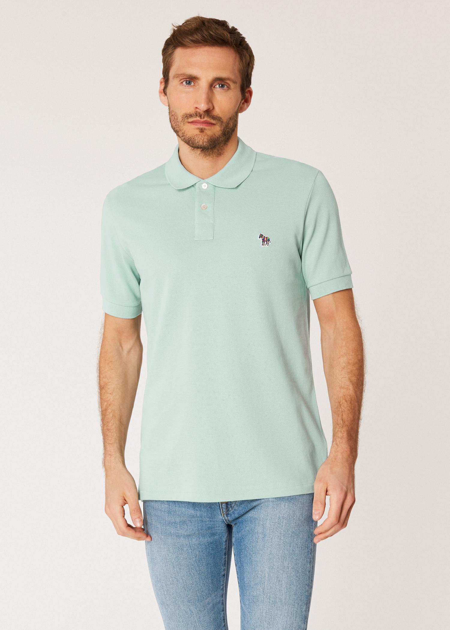 150824dc Model front close up - Men's Mint Organic Cotton-Piqué Zebra Logo Polo  Shirt Paul