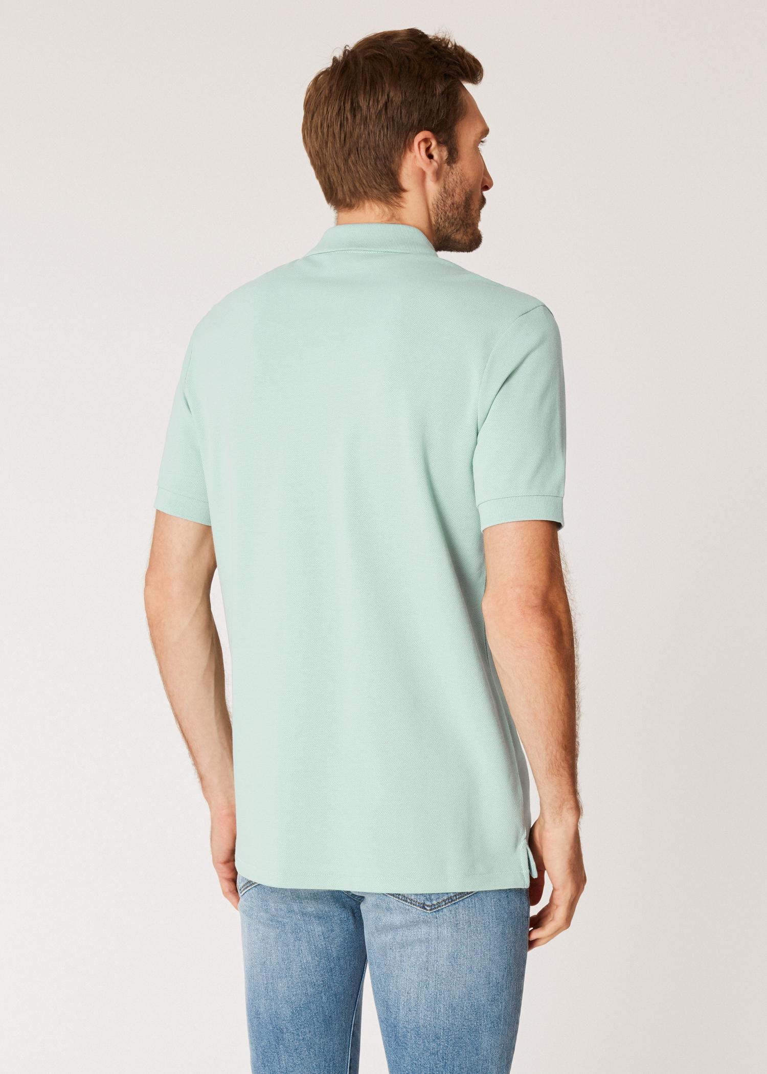 b7dd10ee Model back close up - Men's Mint Organic Cotton-Piqué Zebra Logo Polo Shirt  Paul
