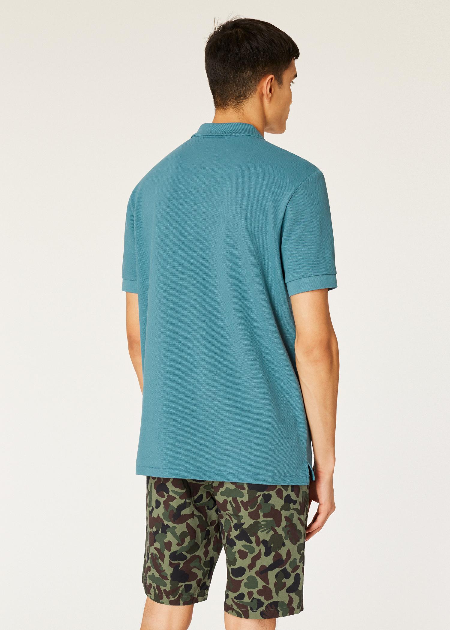 1d7d94b6 Model back close up - Men's Teal Organic Cotton-Piqué Zebra Logo Polo Shirt  Paul