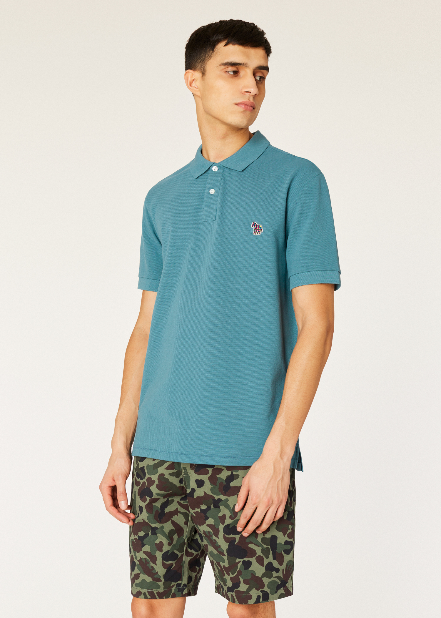 b1116704 Model front close up - Men's Teal Organic Cotton-Piqué Zebra Logo Polo  Shirt Paul