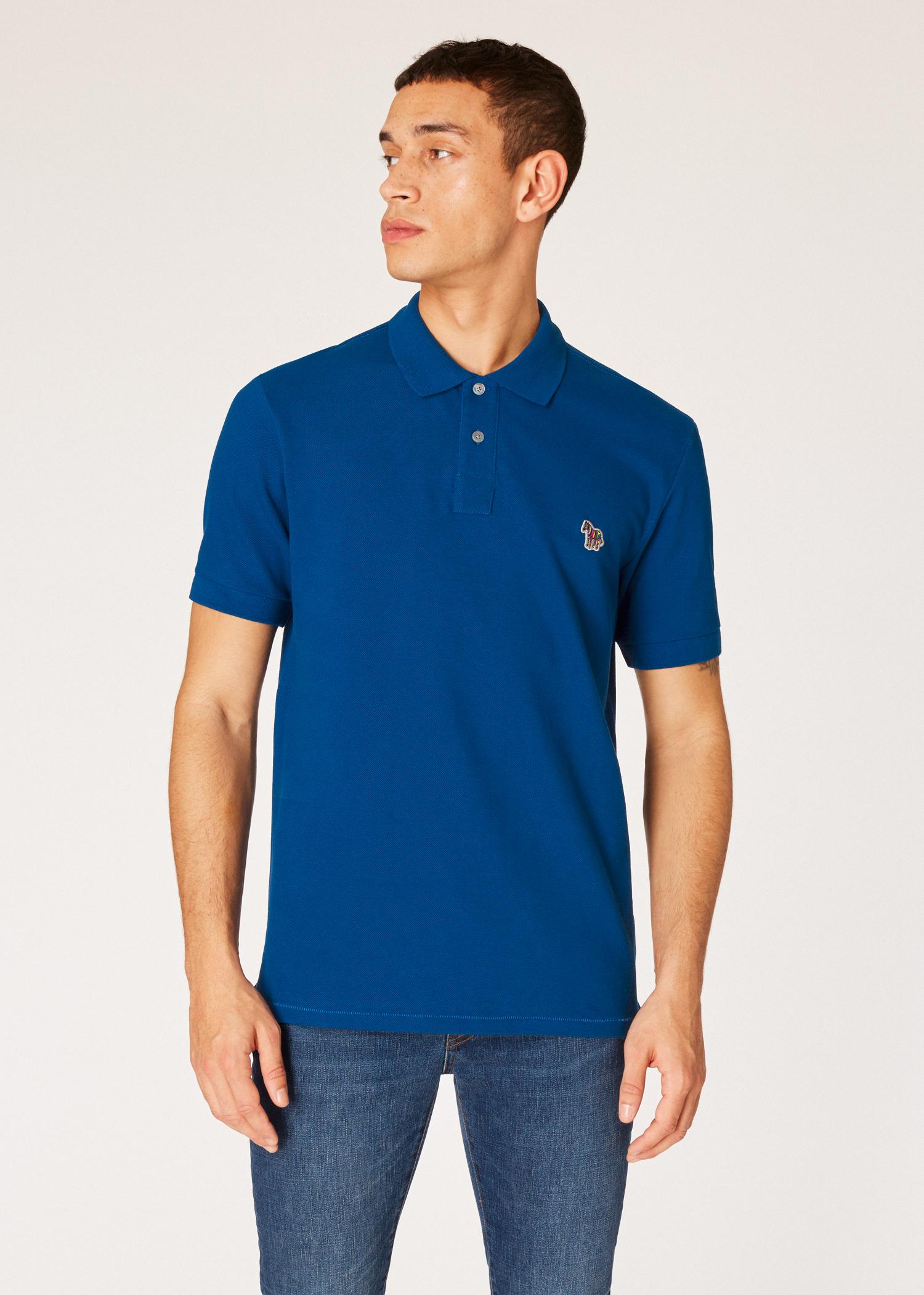cbcd40b3d Model front close up -Men's Cobalt Blue Organic Cotton-Piqué Zebra Logo Polo  Shirt