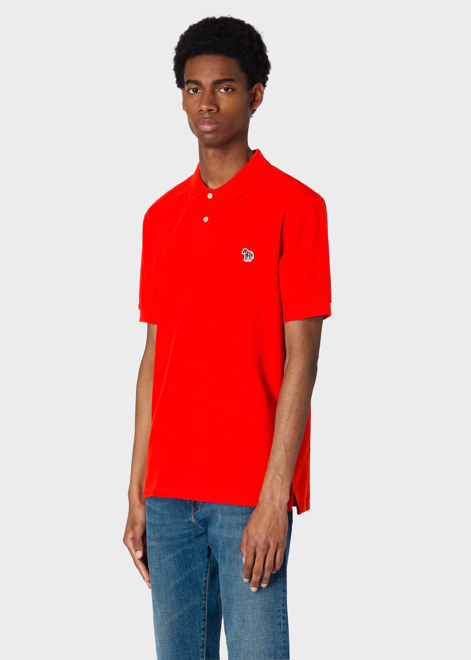 bab46e66 Model front close up - Men's Red Organic Cotton-Piqué Zebra Logo Polo Shirt  Paul