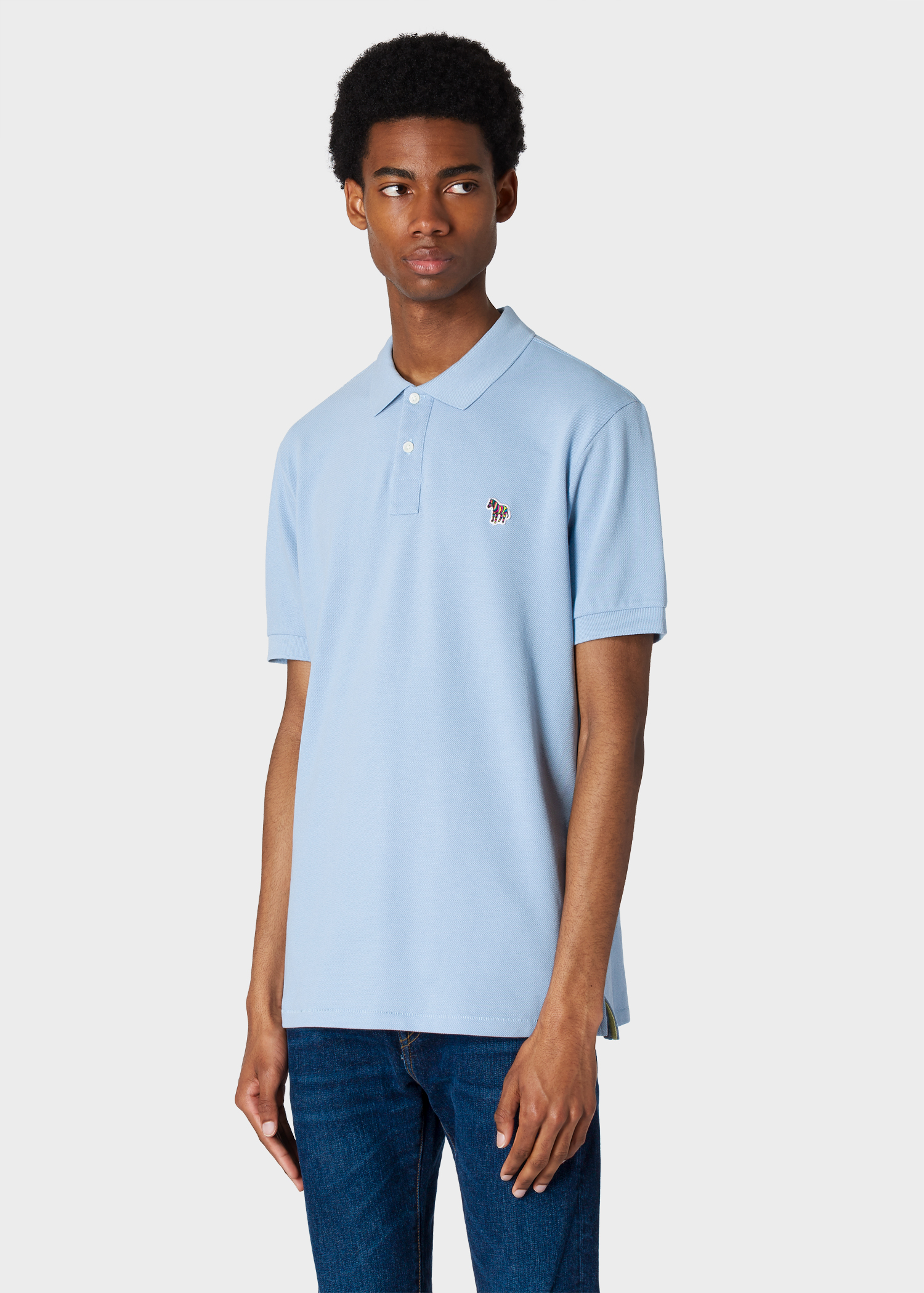 5d77a7f9 Model front close up - Men's Light Blue Organic Cotton-Piqué Zebra Logo  Polo Shirt