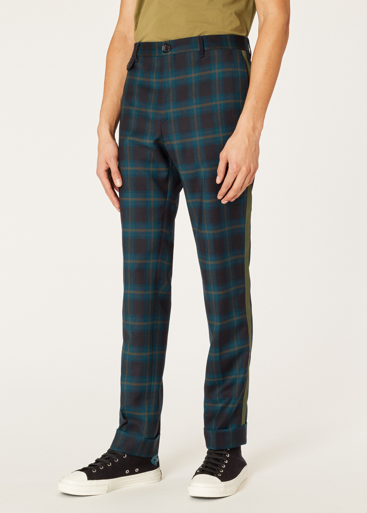 25c958156aa Model front close up - Men's Slim-Fit Teal Check Wool Pants With Khaki  Stripe