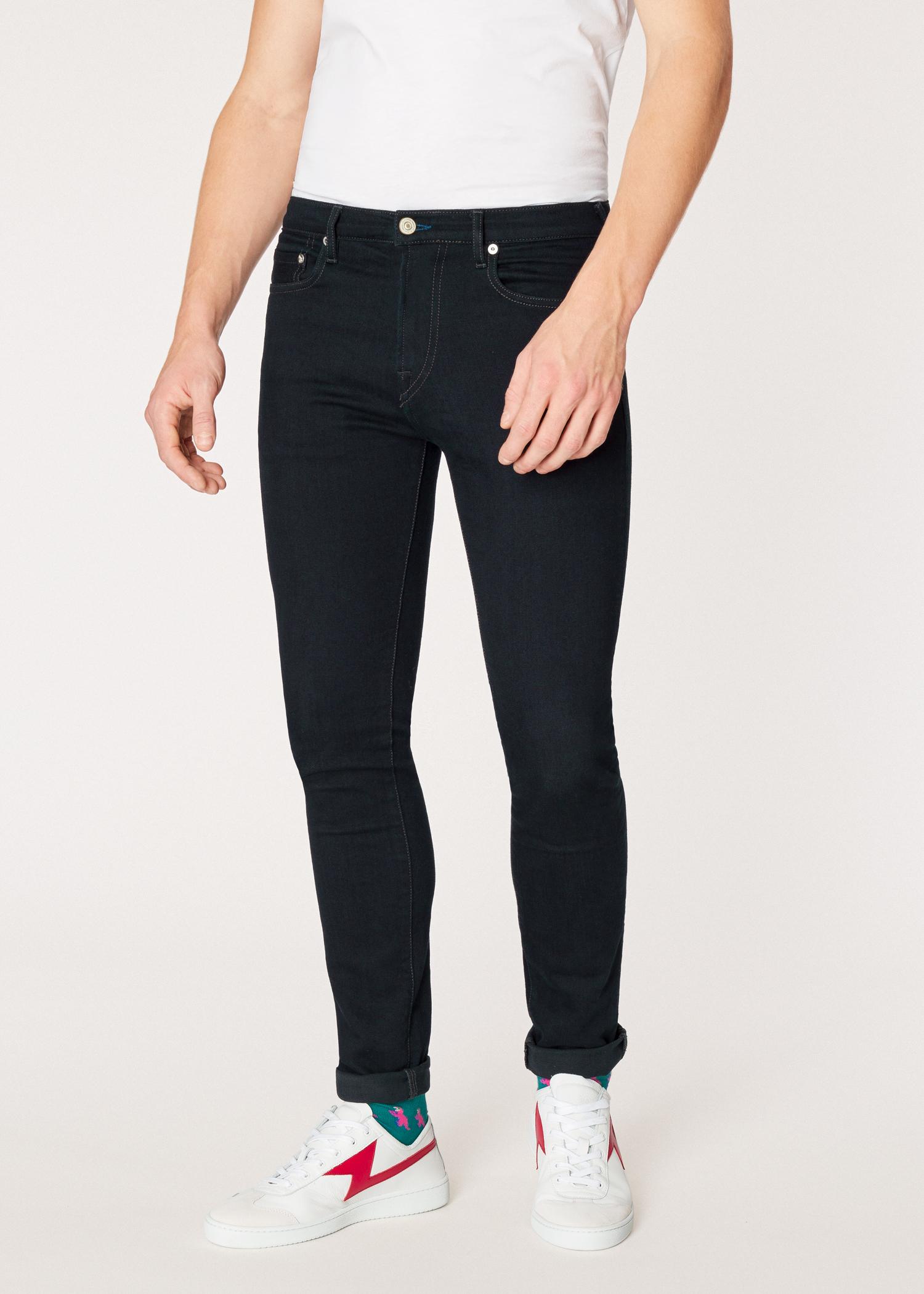 ae375a23bd05c Model front close up - Men's Slim-Standard 'Blue/Black Reflex' Jeans