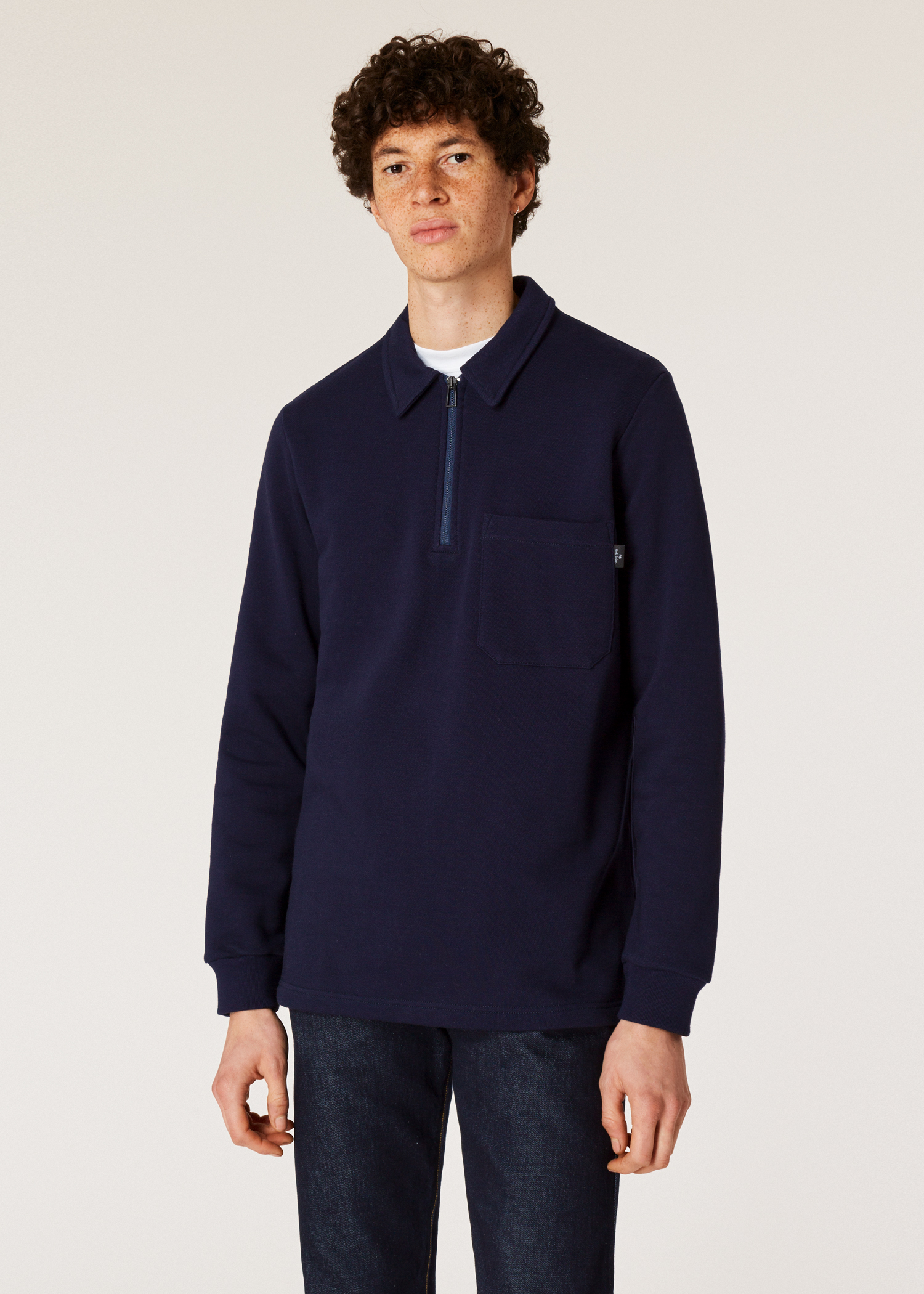 7091360c8a826f Model front close up - Men's Navy Half-Zip Cotton Rugby Top Paul Smith
