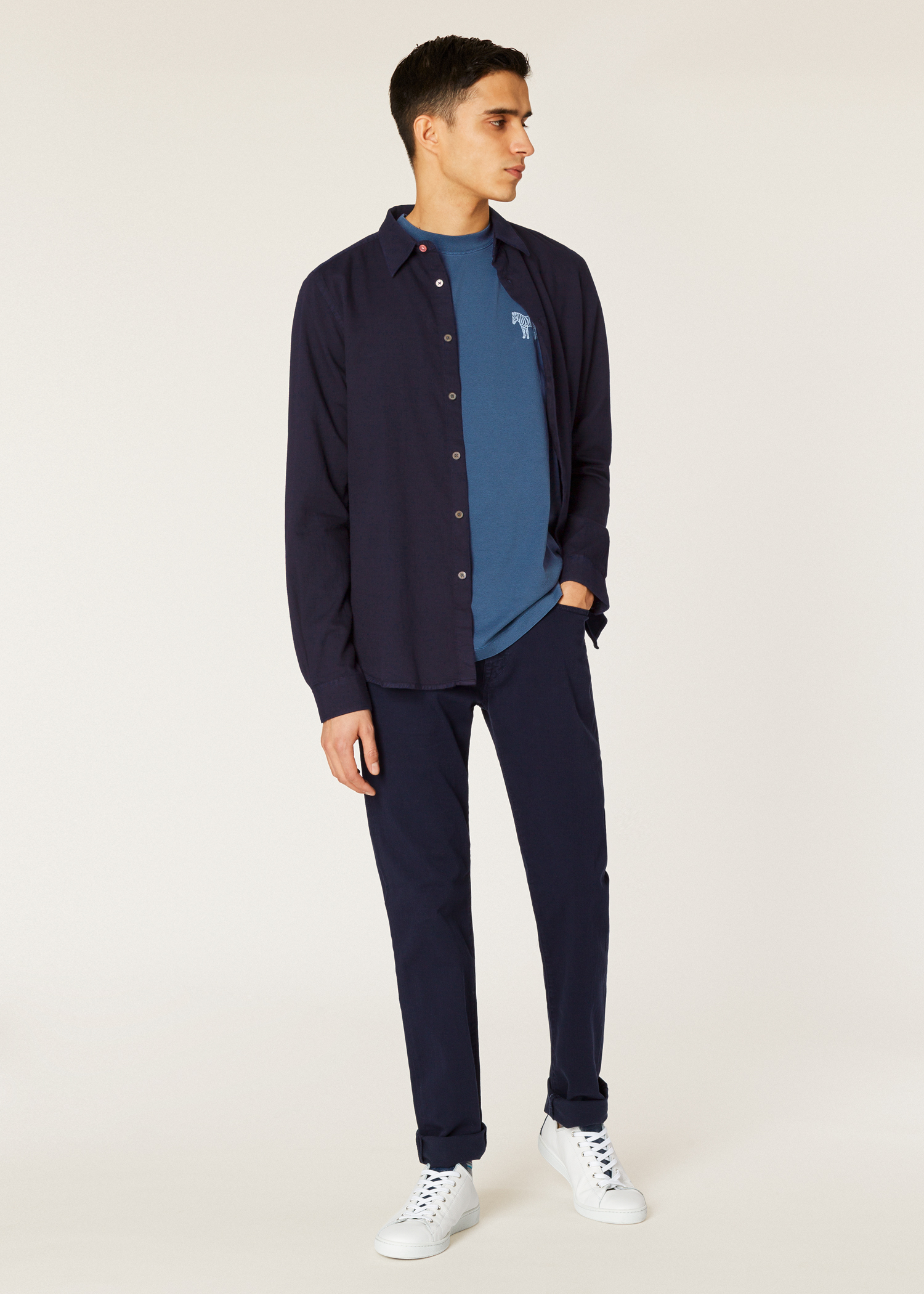 Mens Tapered Fit Navy Garment Dye Jeans Paul Smith Us