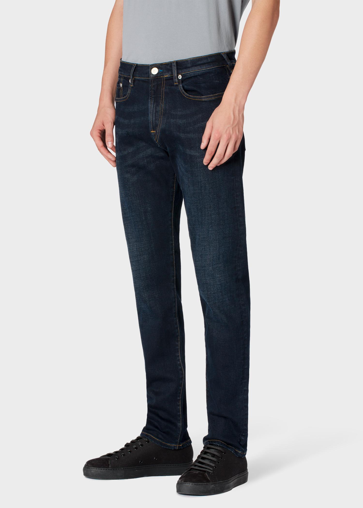 Top Men's Tapered-Fit Dark-Wash 'Blue/Black Reflex' Denim Jeans - Paul EX21