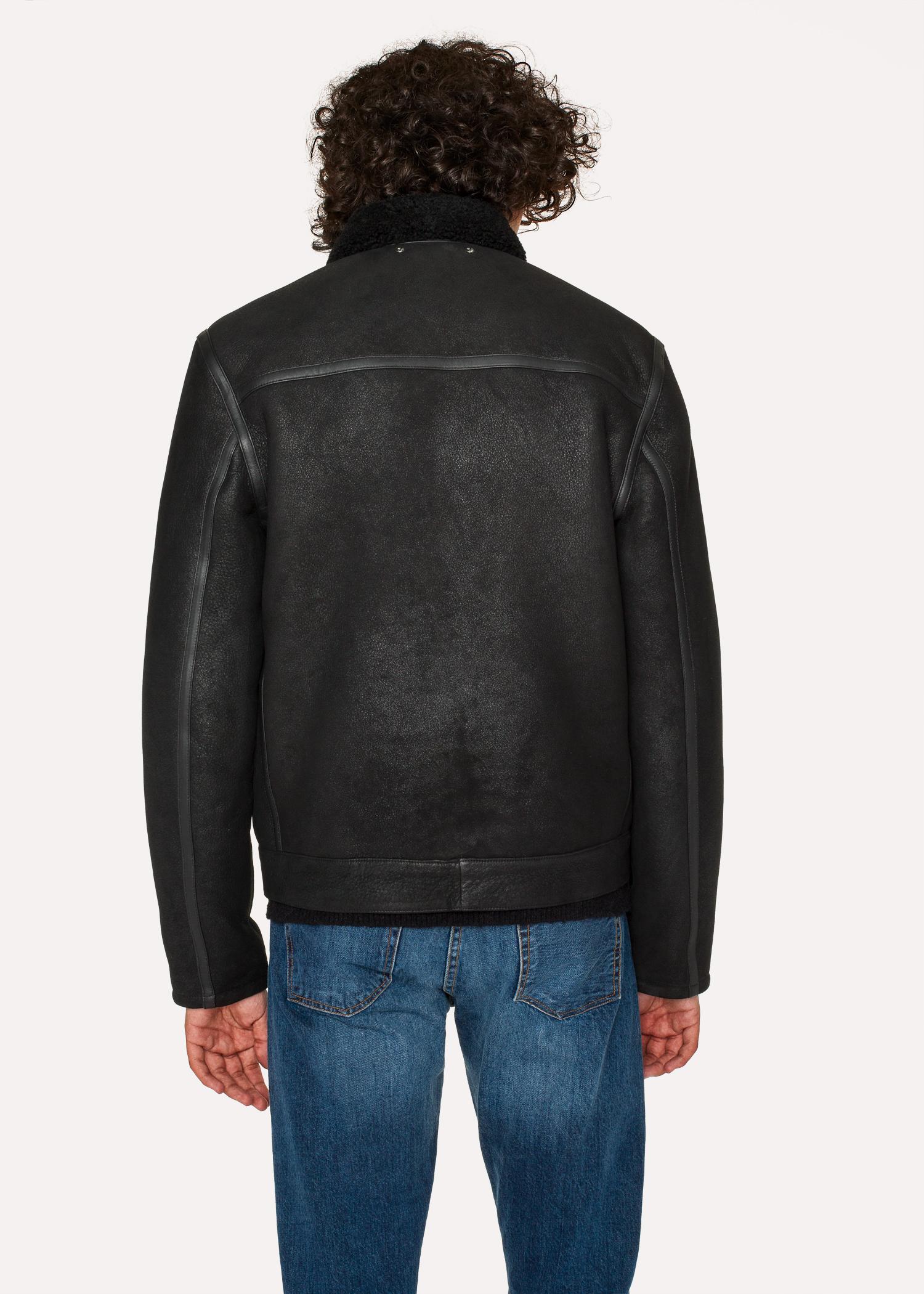 Men S Black Shearling Jacket Paul Smith Europe