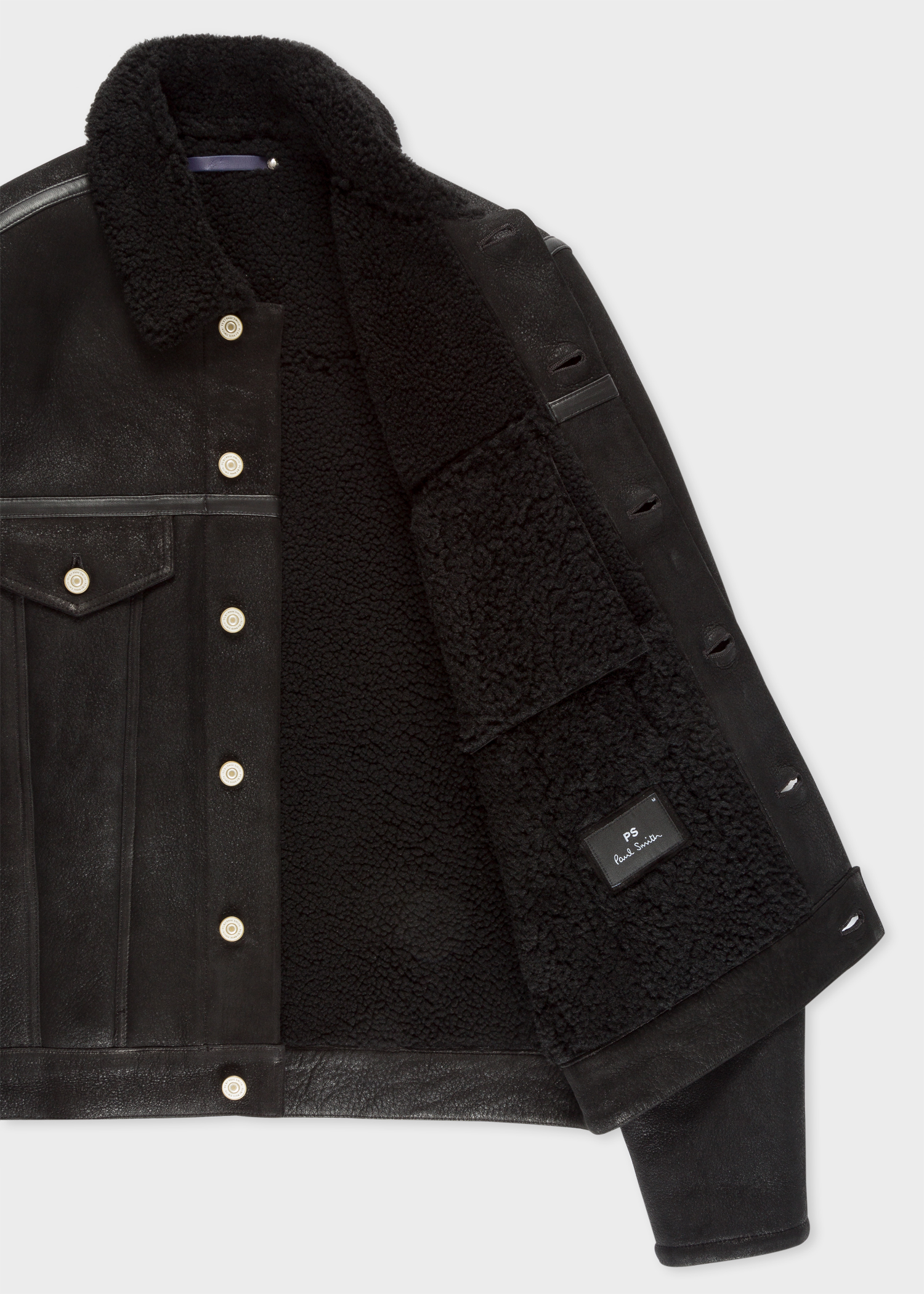 Men S Black Shearling Jacket Paul Smith Us