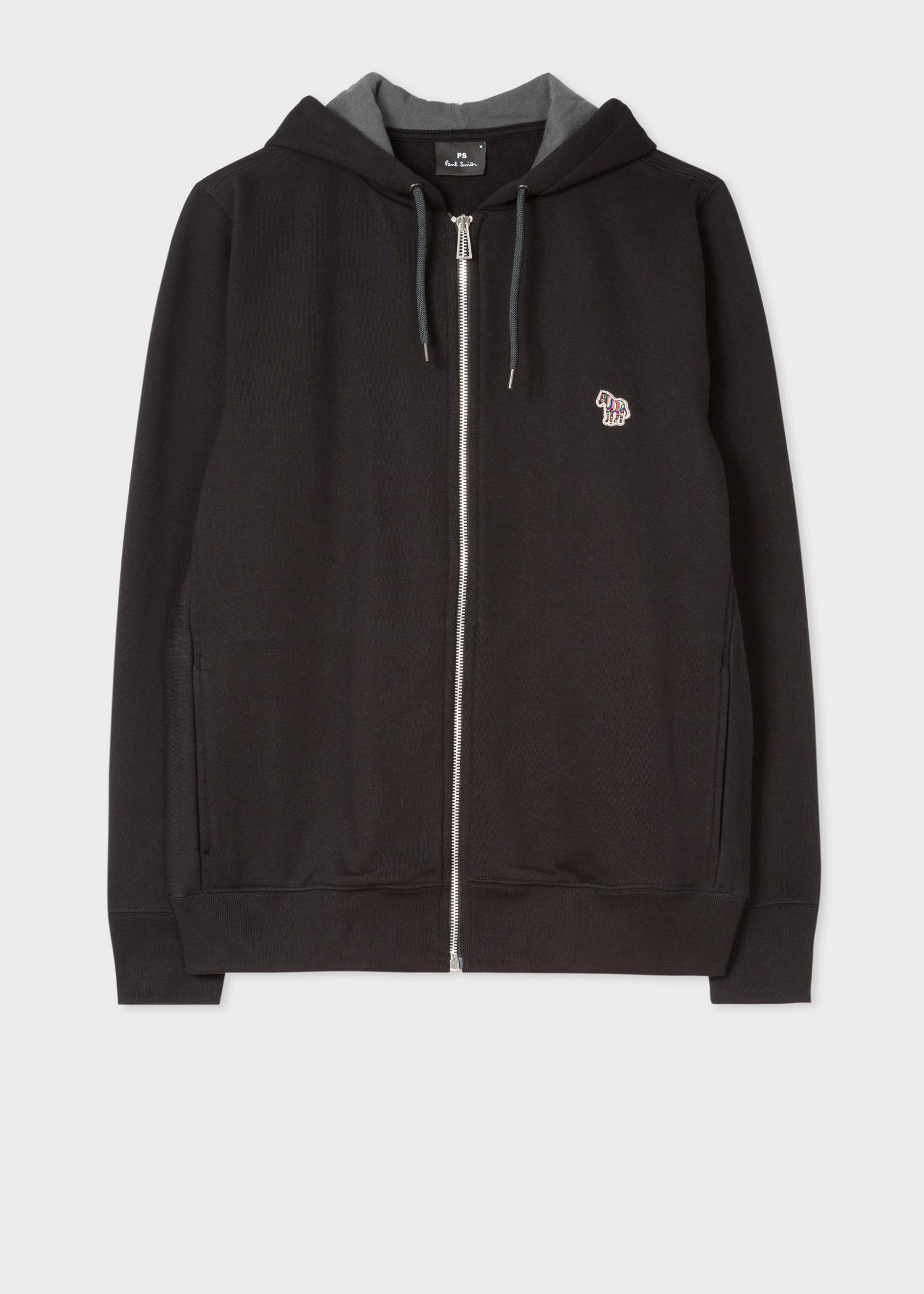 7e53052b Men's Black Organic-Cotton Zip-Front Zebra Logo Hoodie