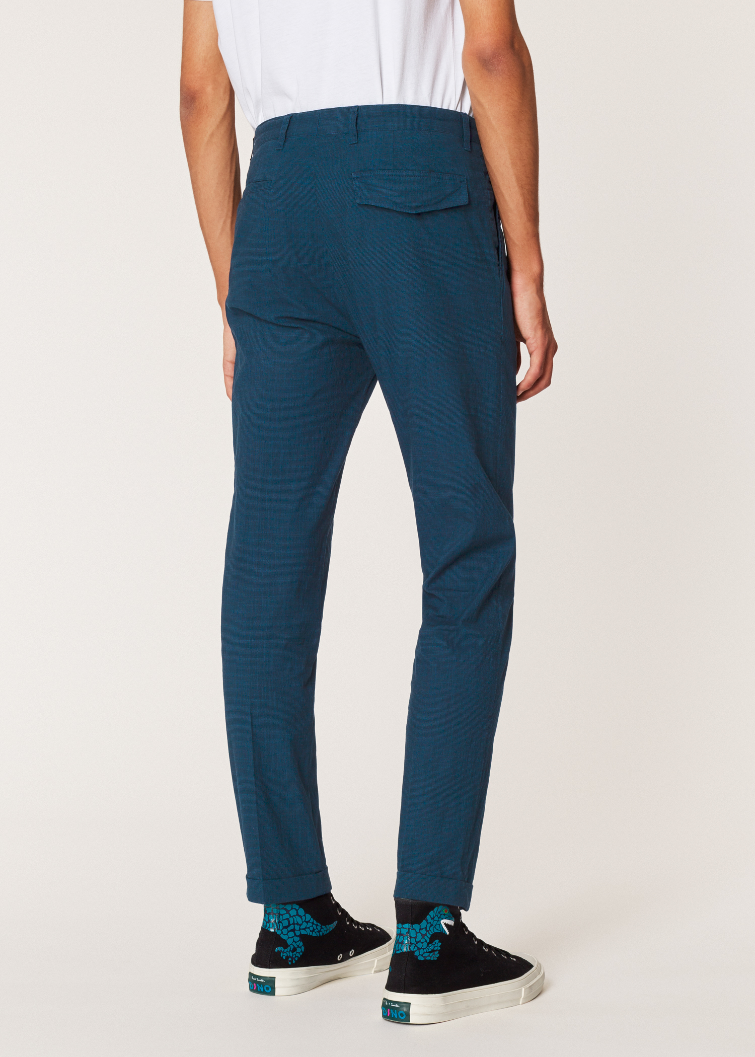 Men S Navy Houndstooth Pleated Cotton And Linen Blend Trousers