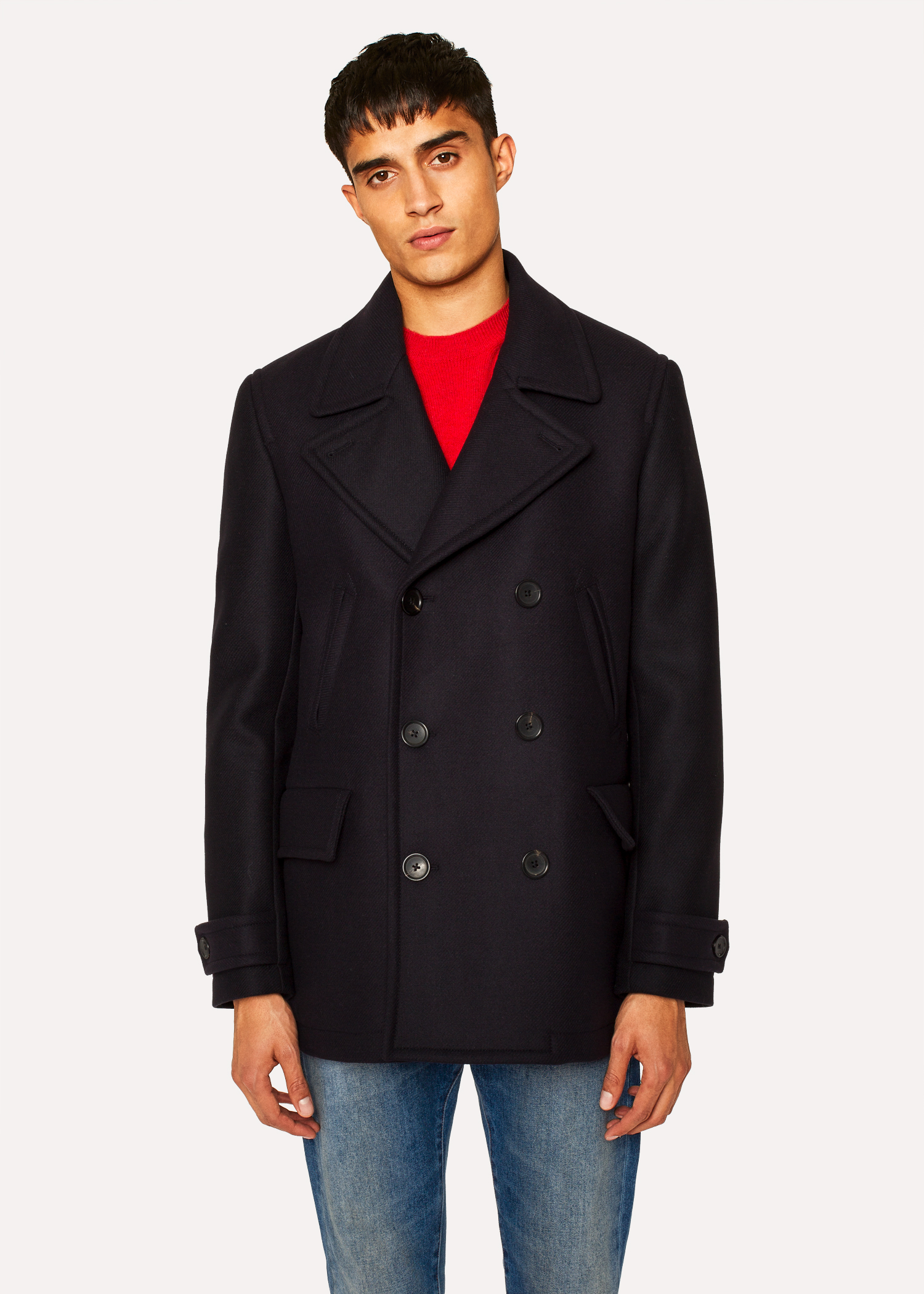ac20dee0875 Men s Dark Navy Wool-Cashmere Pea Coat - Paul Smith US