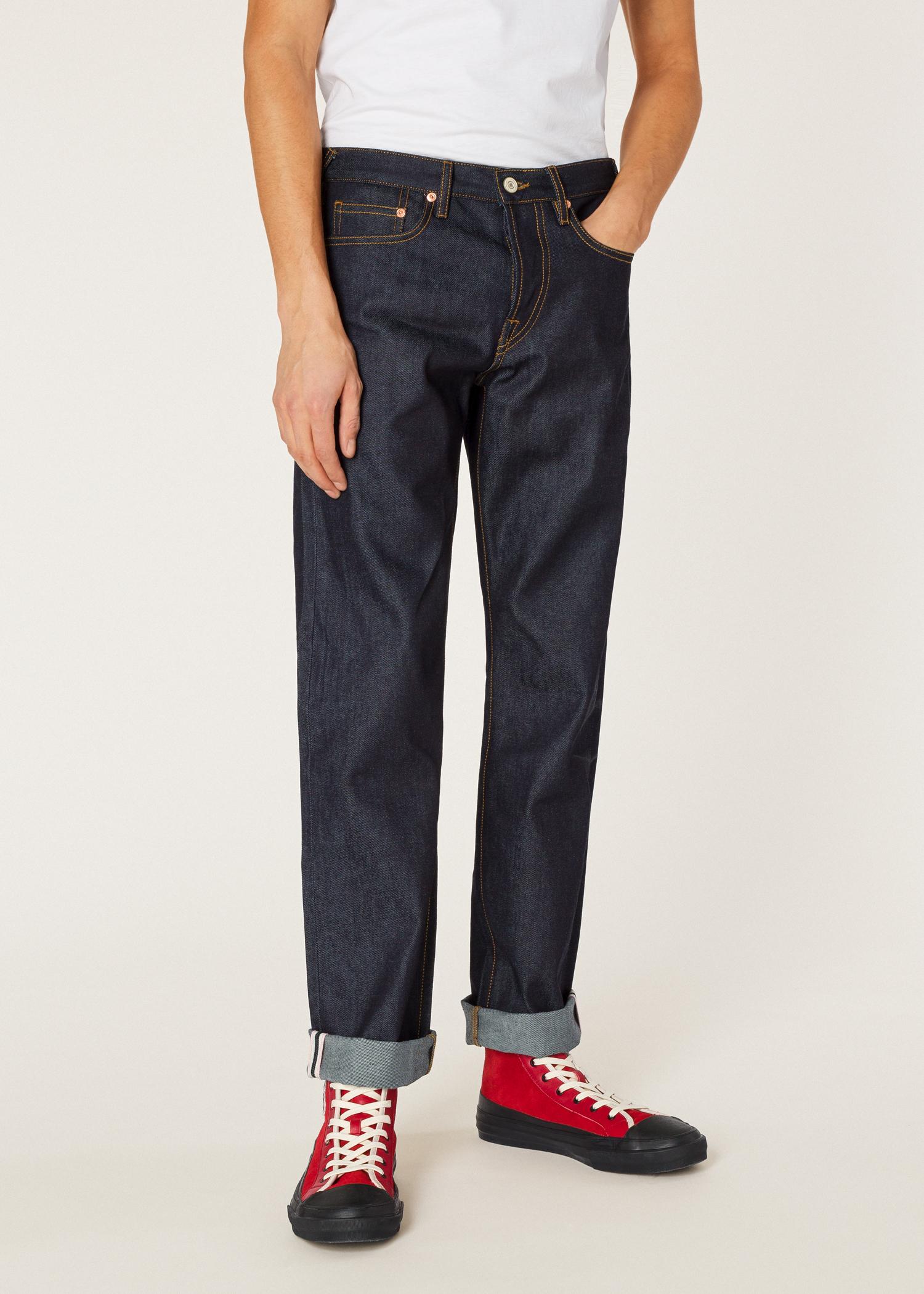 acbb8fcd1c5 Men s Standard-Fit  Pink Selvedge  Raw Denim Jeans .