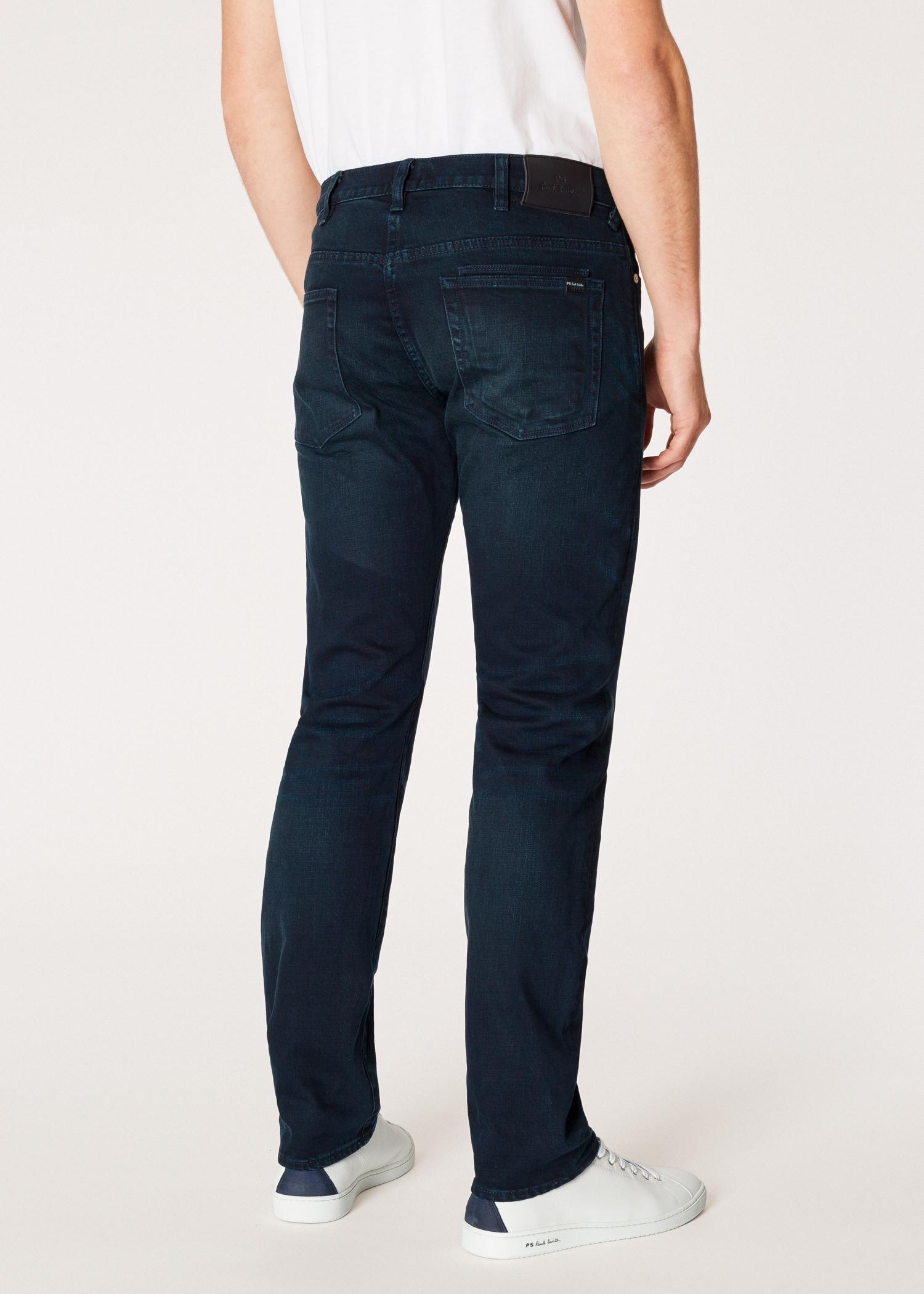 38aafb41047 Men s Standard-Fit  Crosshatch Stretch  Navy Over-Dye Jeans - Paul Smith