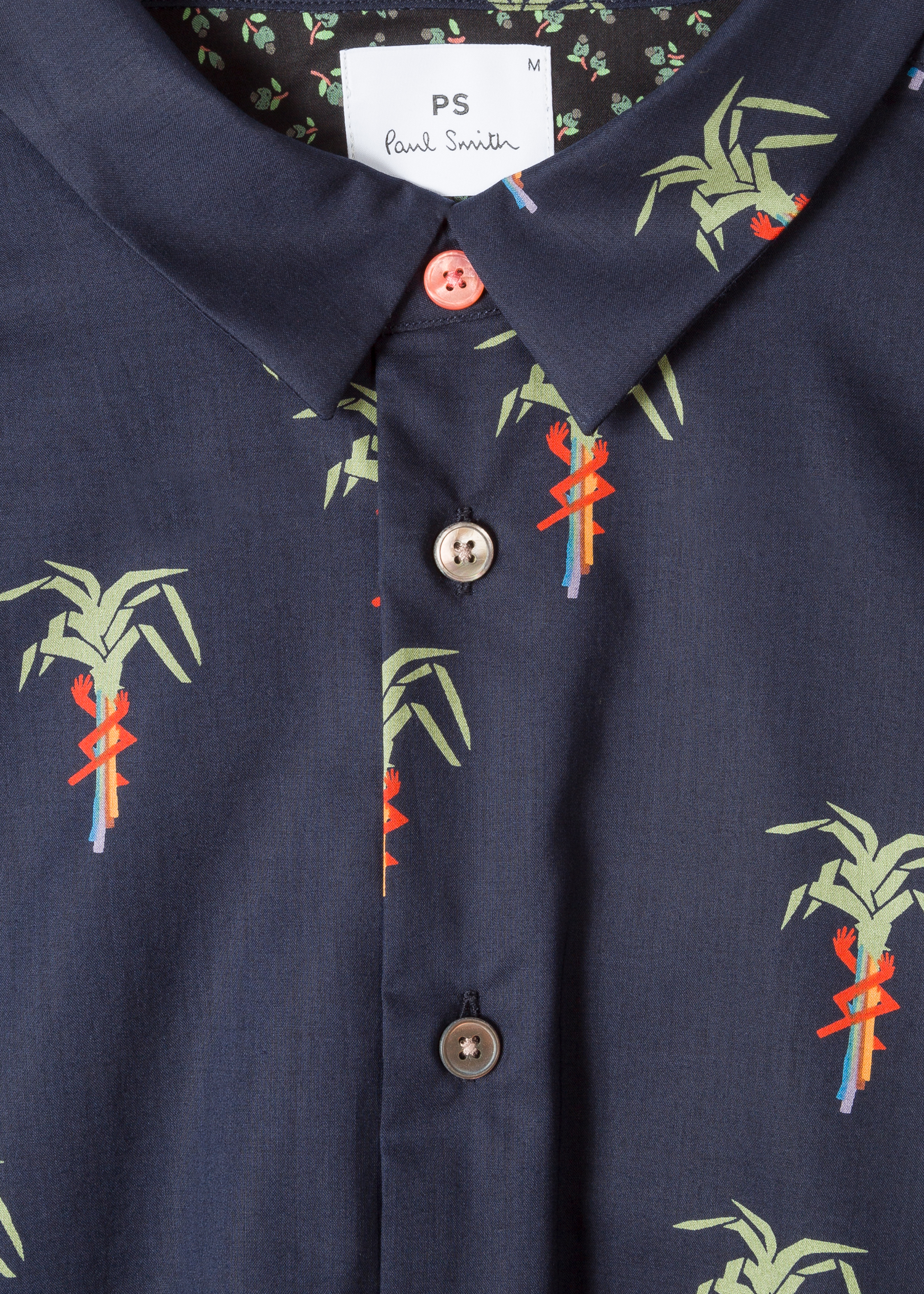 cabbe32ee6e3 Men's Slim-Fit Dark Navy 'Palm Tree' Print Stretch-Cotton Shirt ...