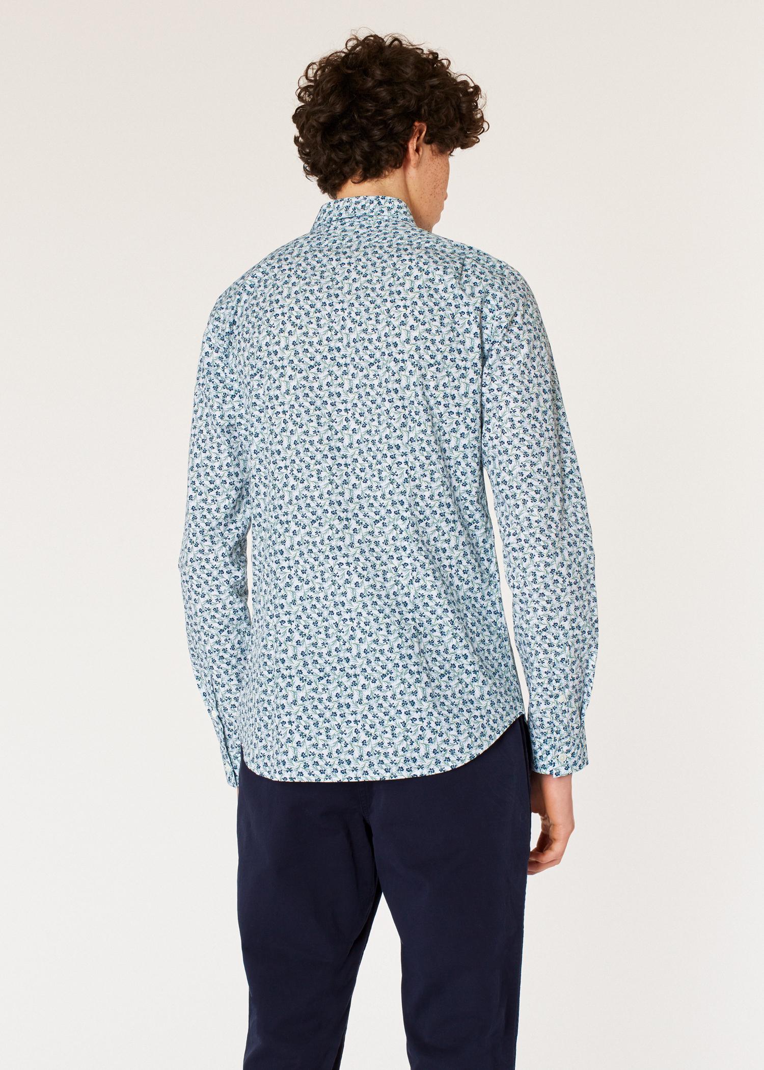 acf0f00d3f Men's Slim-Fit White 'Mini Cypress' Print Cotton Shirt - Paul Smith Asia