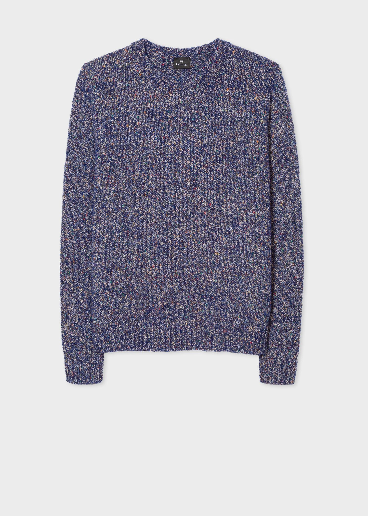 9f8cbdde004 Men's Blue Oversized Wool-Blend Twisted-Yarn Sweater
