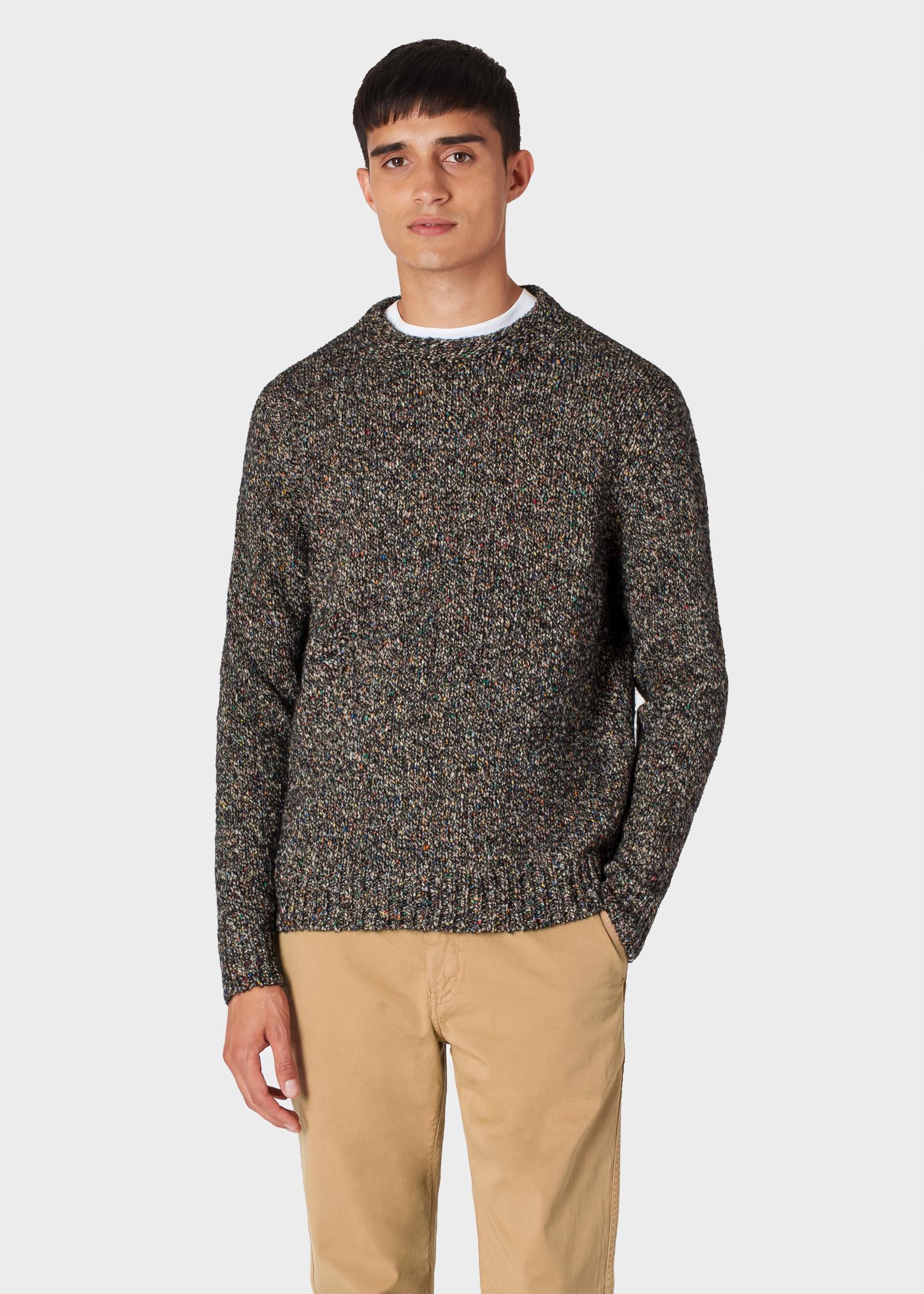 92667afb160 Men's Black Oversized Wool-Blend Twisted-Yarn Sweater