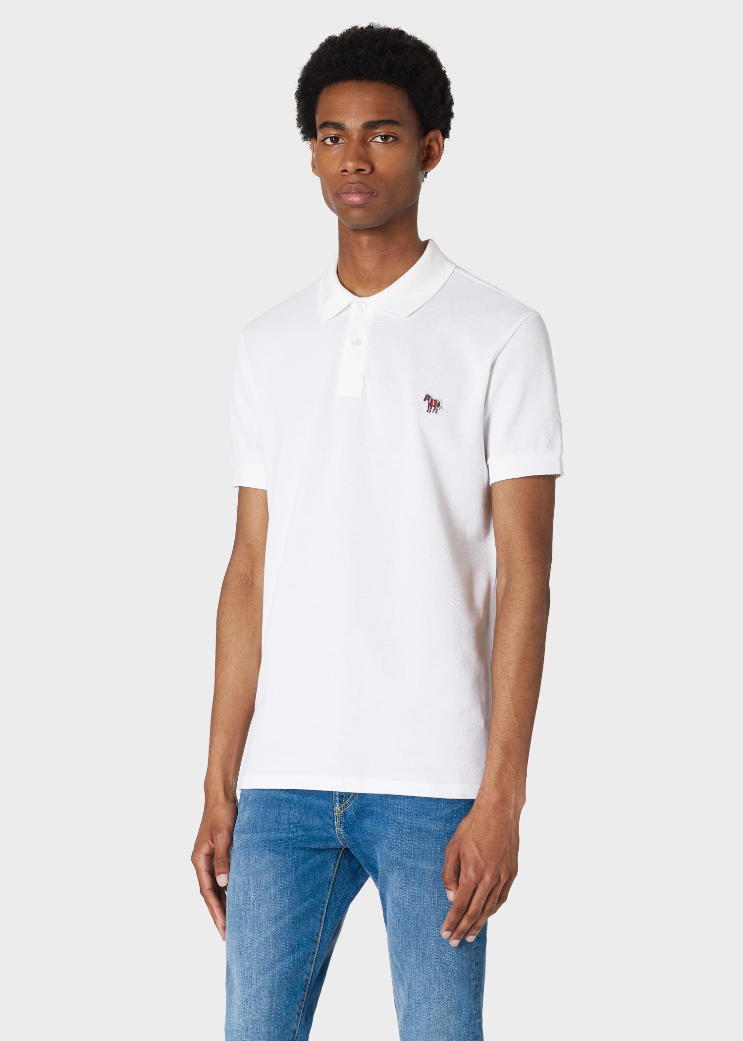 7c9ed4d14b36 Model front close up - Men's Slim-Fit White Organic Cotton-Piqué Zebra Logo