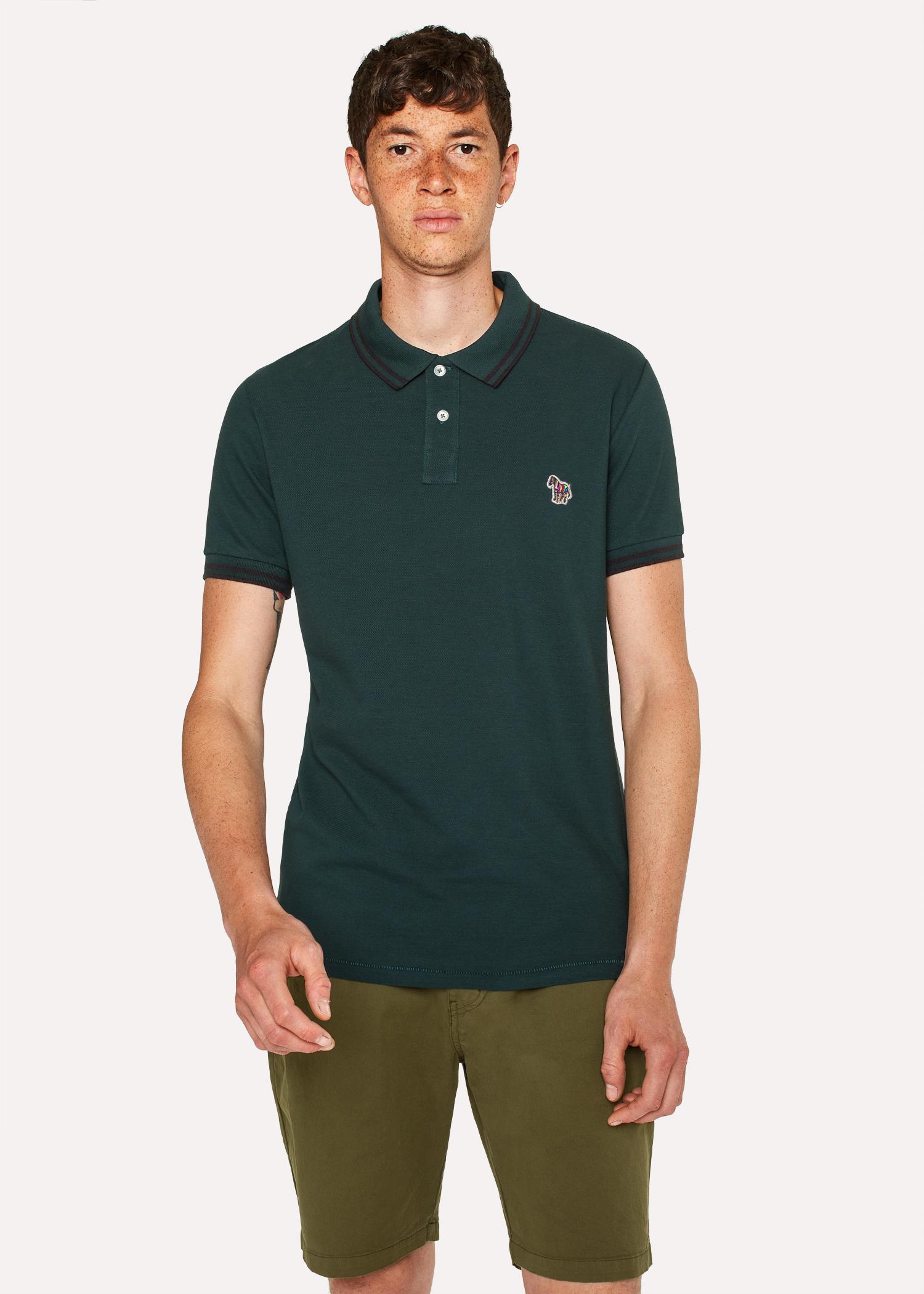 Mens Slim Fit Dark Green Zebra Polo Shirt With Black Tipping Paul