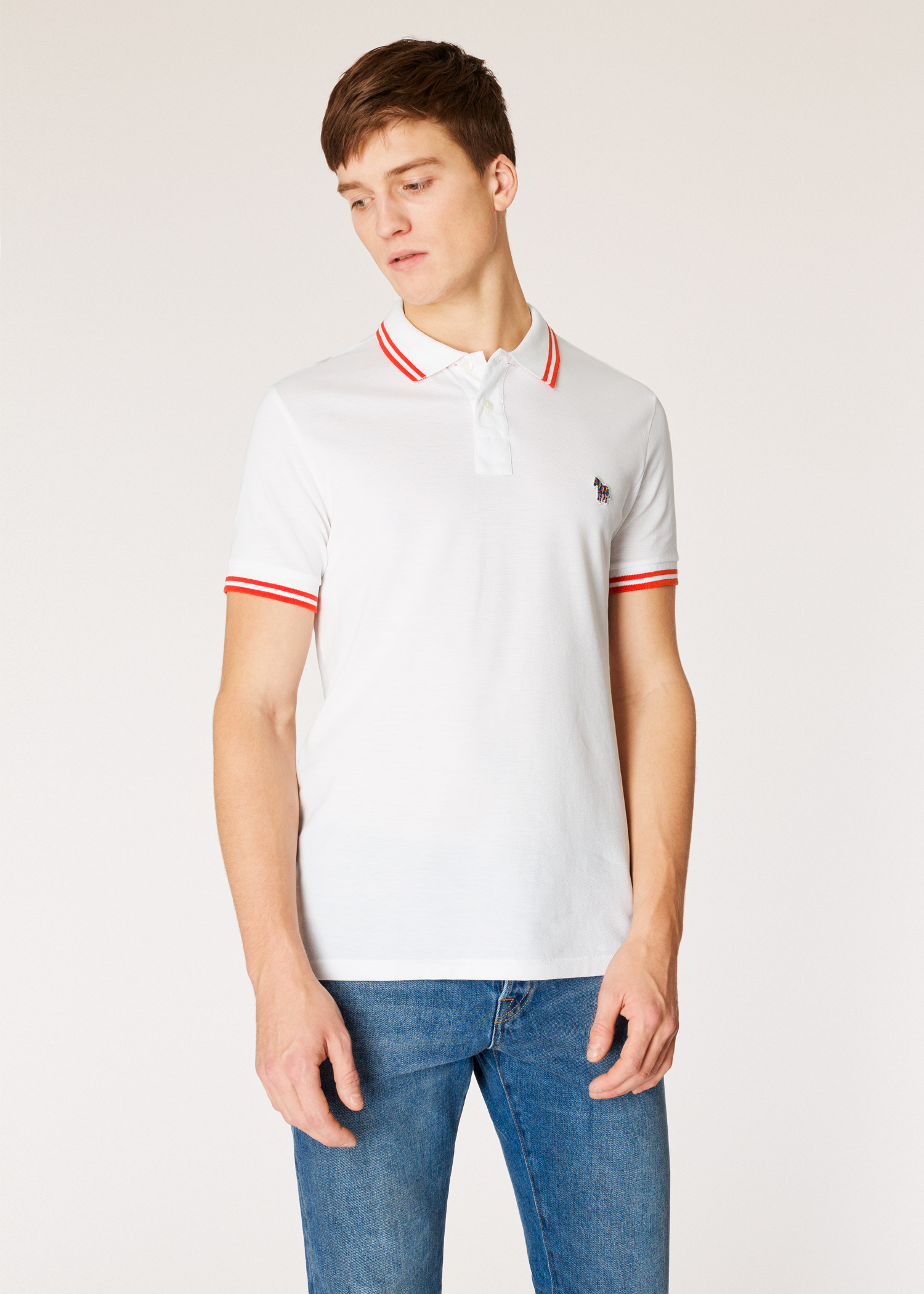 Model front view - Men s Slim-Fit White Zebra Polo Shirt With Red Tipping  Paul 1f58f3a1a73e